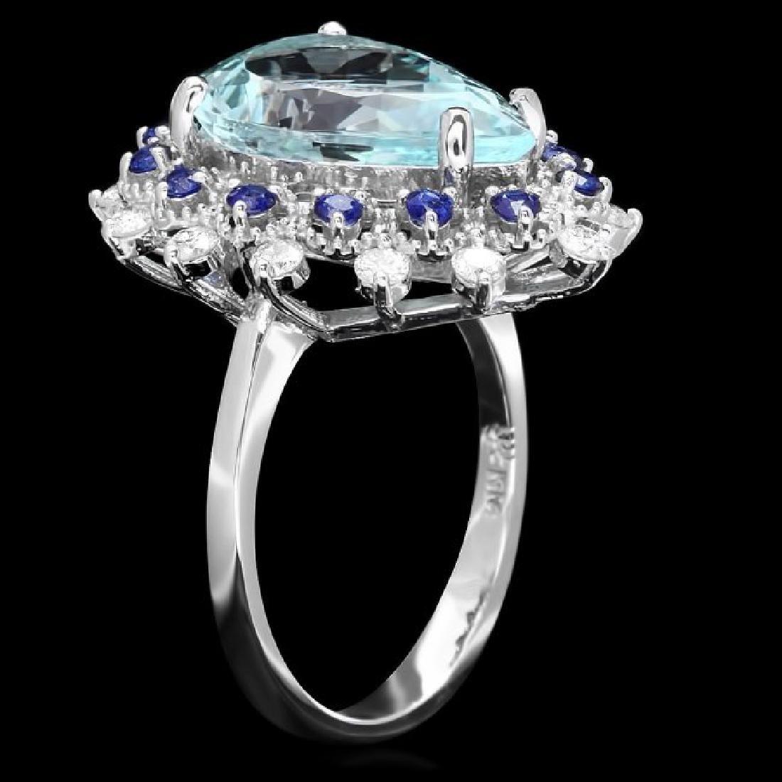 14k Gold 5.50ct Aquamarine 0.55ct Diamond Ring - 2