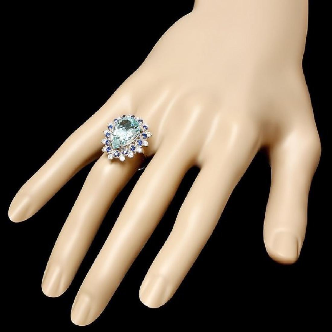 14k Gold 5.50ct Aquamarine 0.55ct Diamond Ring - 3