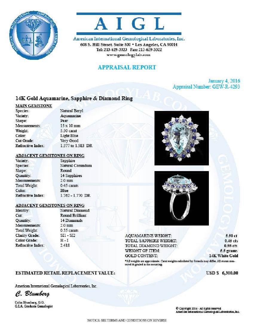 14k Gold 5.50ct Aquamarine 0.55ct Diamond Ring - 4