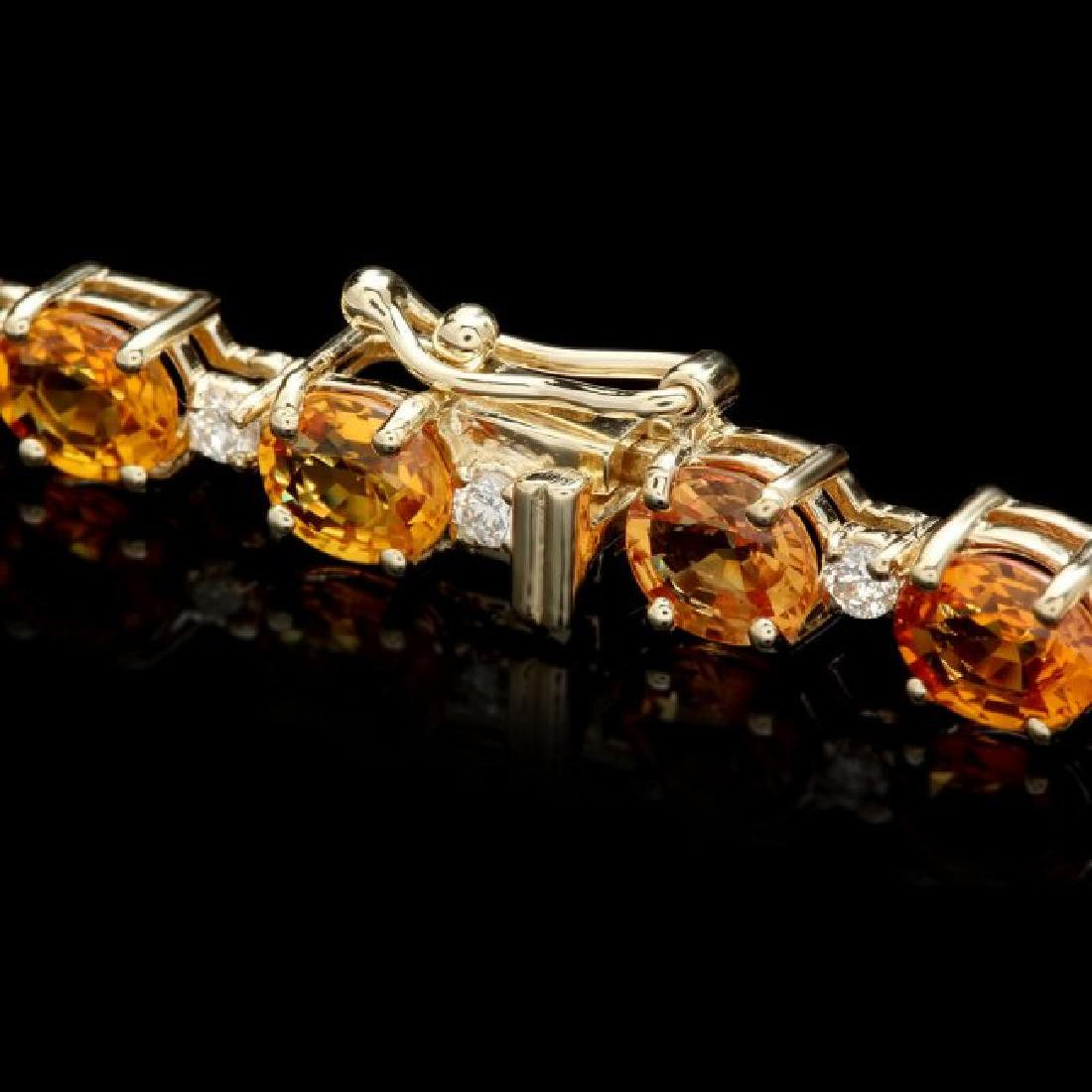 14k Gold 16.00ct Sapphire 1.00ct Diamond Bracelet - 2