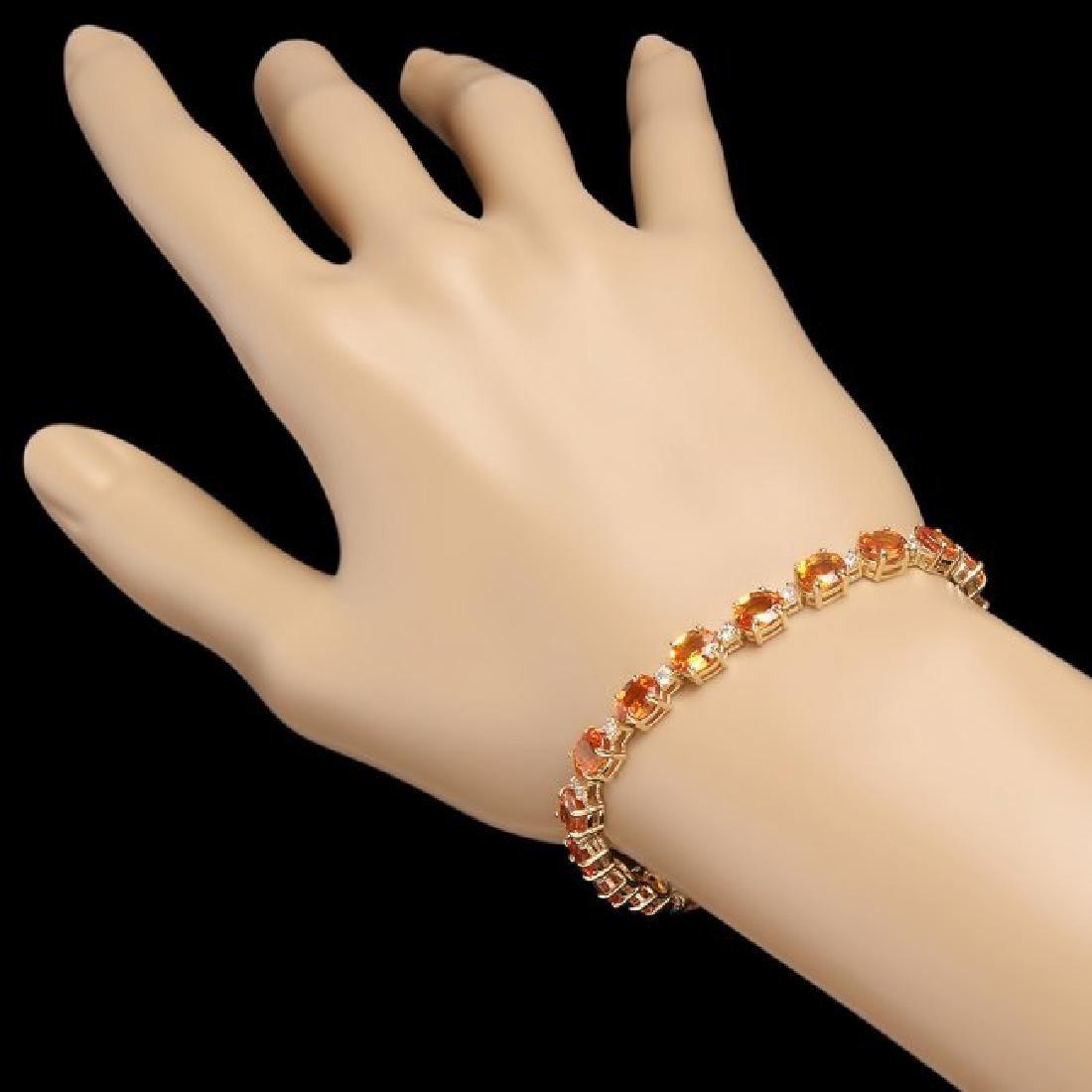 14k Gold 16.00ct Sapphire 1.00ct Diamond Bracelet - 3