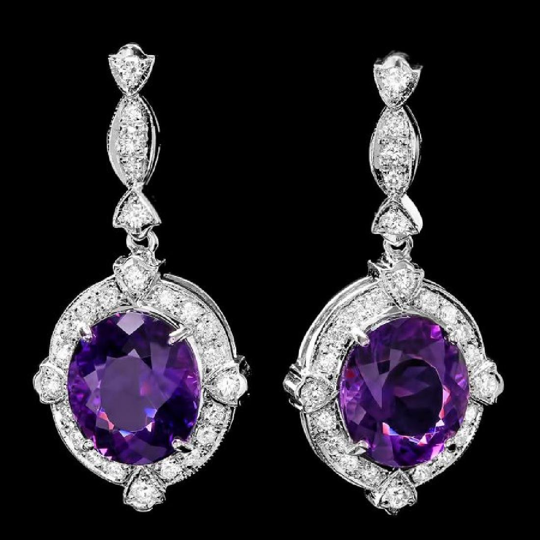 14k Gold 16ct Amethyst 1.70ct Diamond Earrings