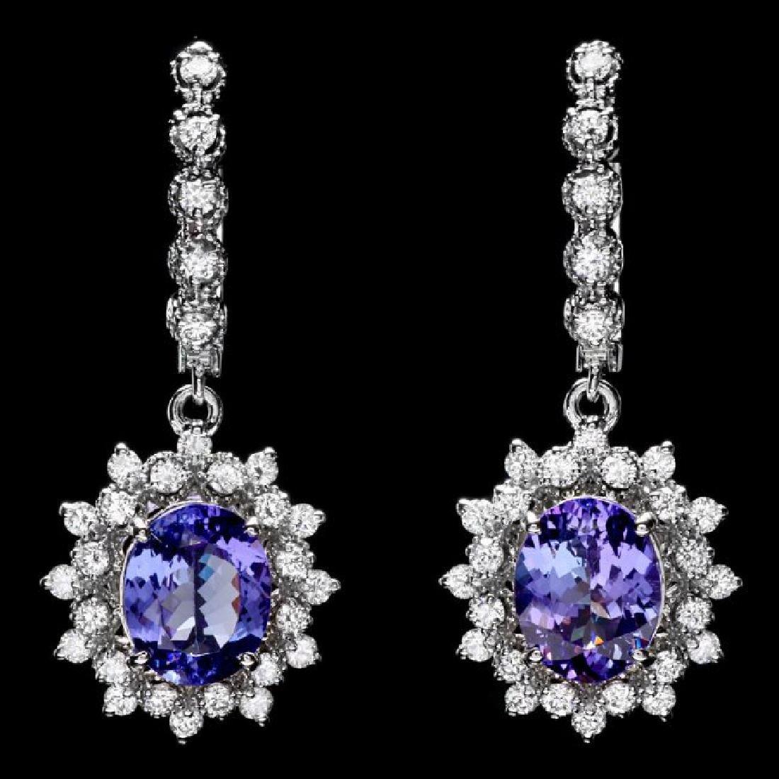 14k Gold 5ct Tanzanite 1.60ct Diamond Earrings