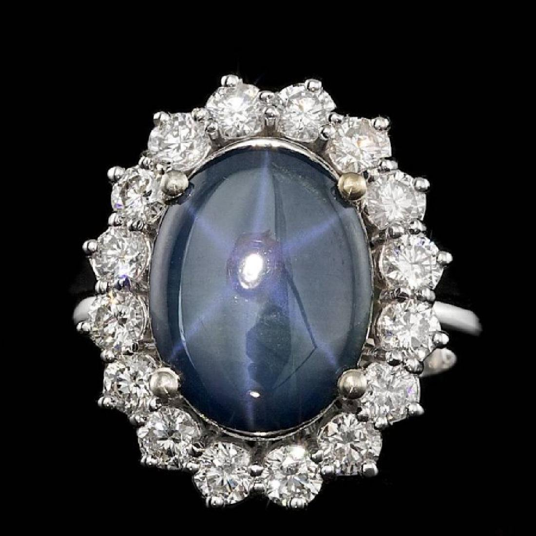 14k Gold 5.00ct Sapphire 1.50ct Diamond Ring