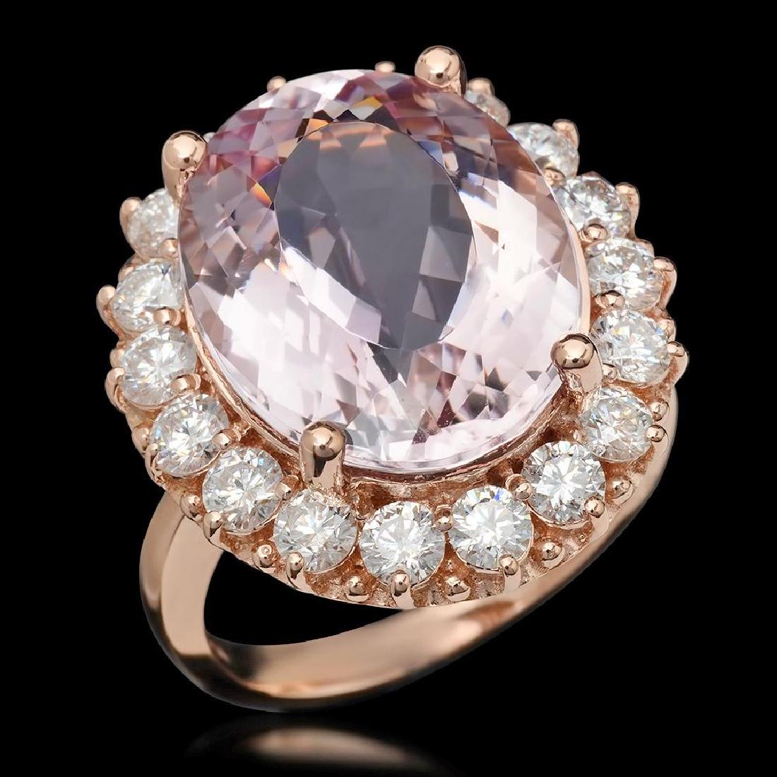 14K Gold 13.13ct Kunzite 2.22ct Diamond Ring