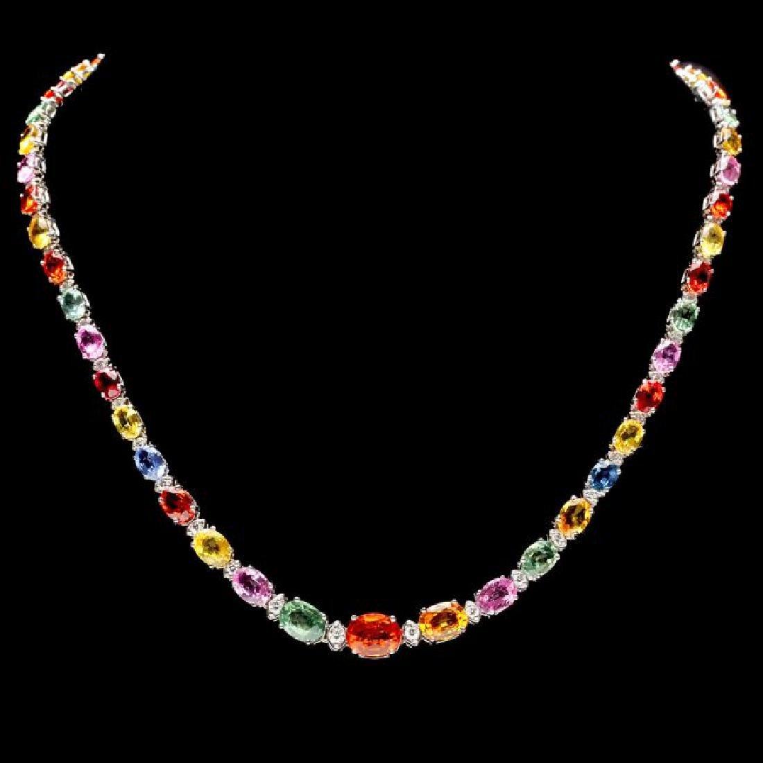 14k Gold 35ct Sapphire 1.30ct Diamond Necklace