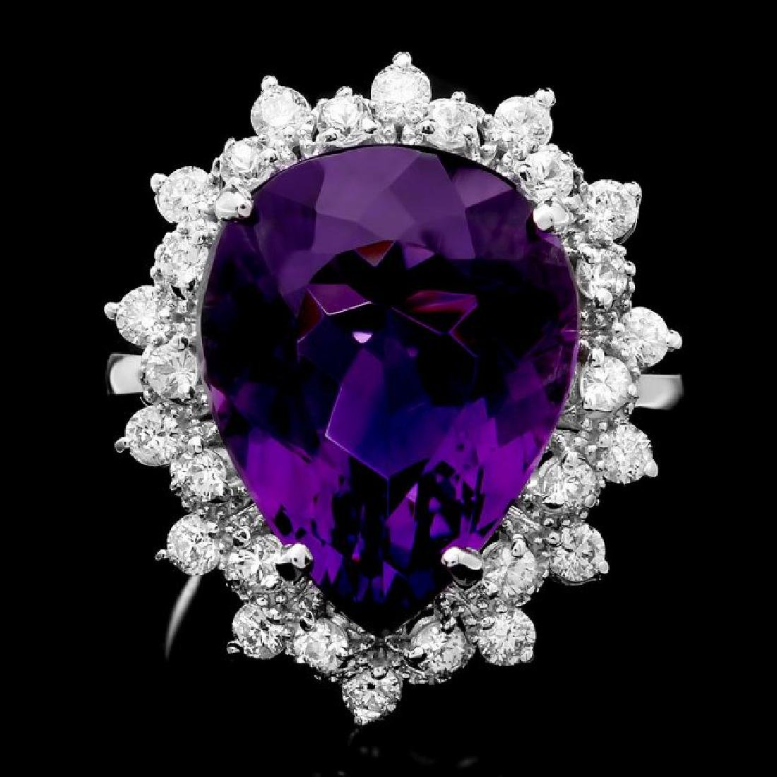14k Gold 8.50ct Amethyst 0.90ct Diamond Ring