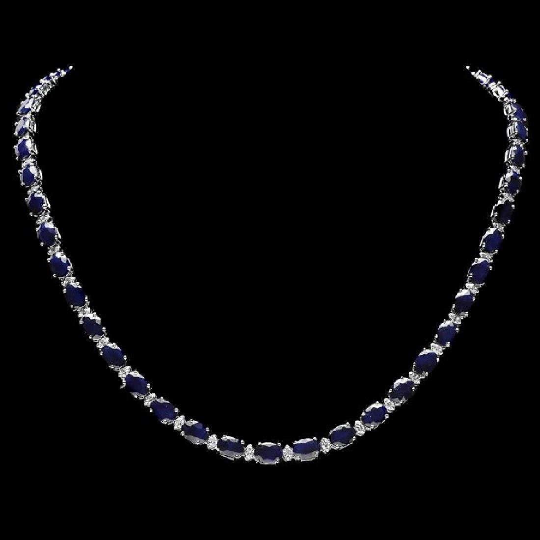 14k Gold 40ct Sapphire 2.00ct Diamond Necklace