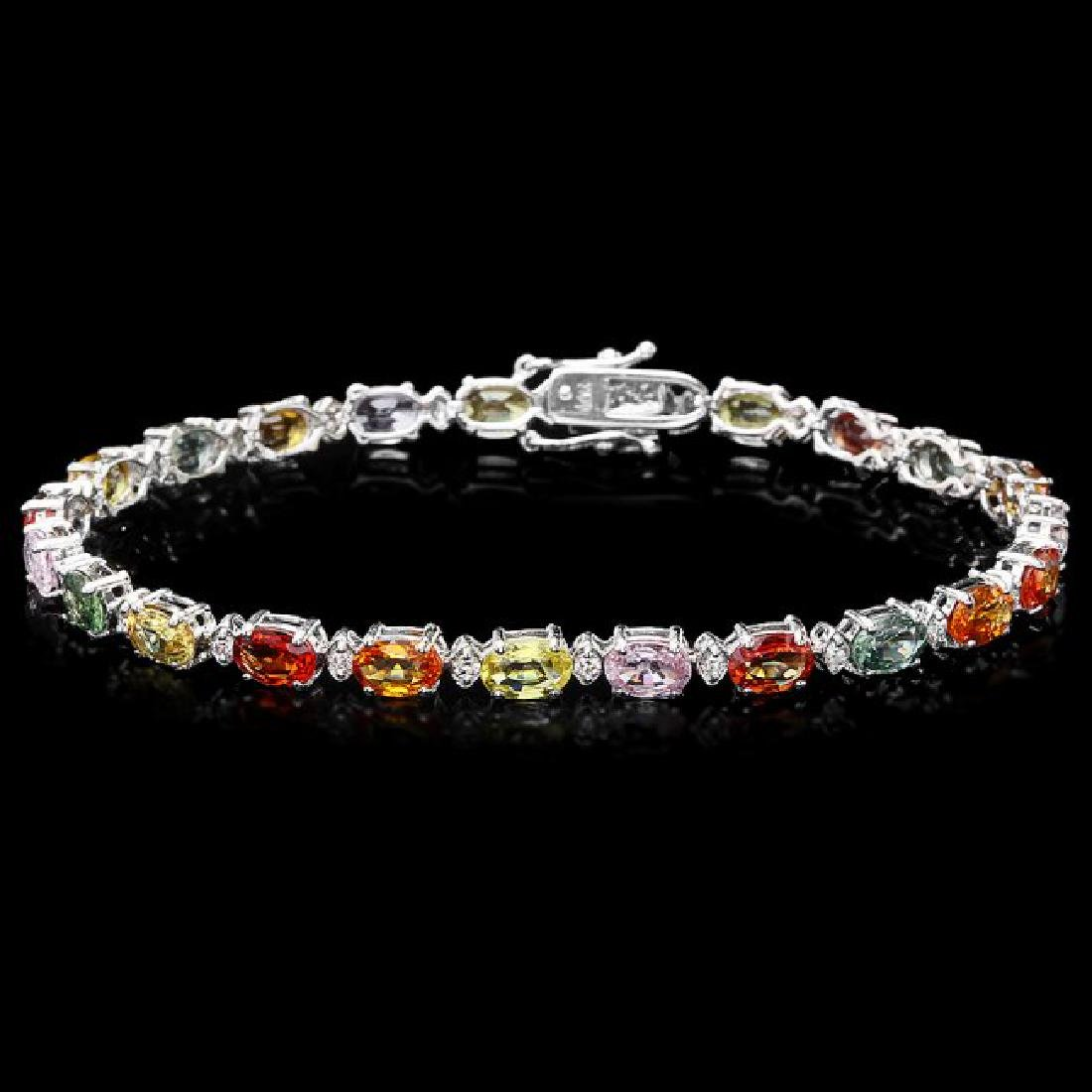 14k Gold 12.17ct Sapphire 0.52ct Diamond Bracelet