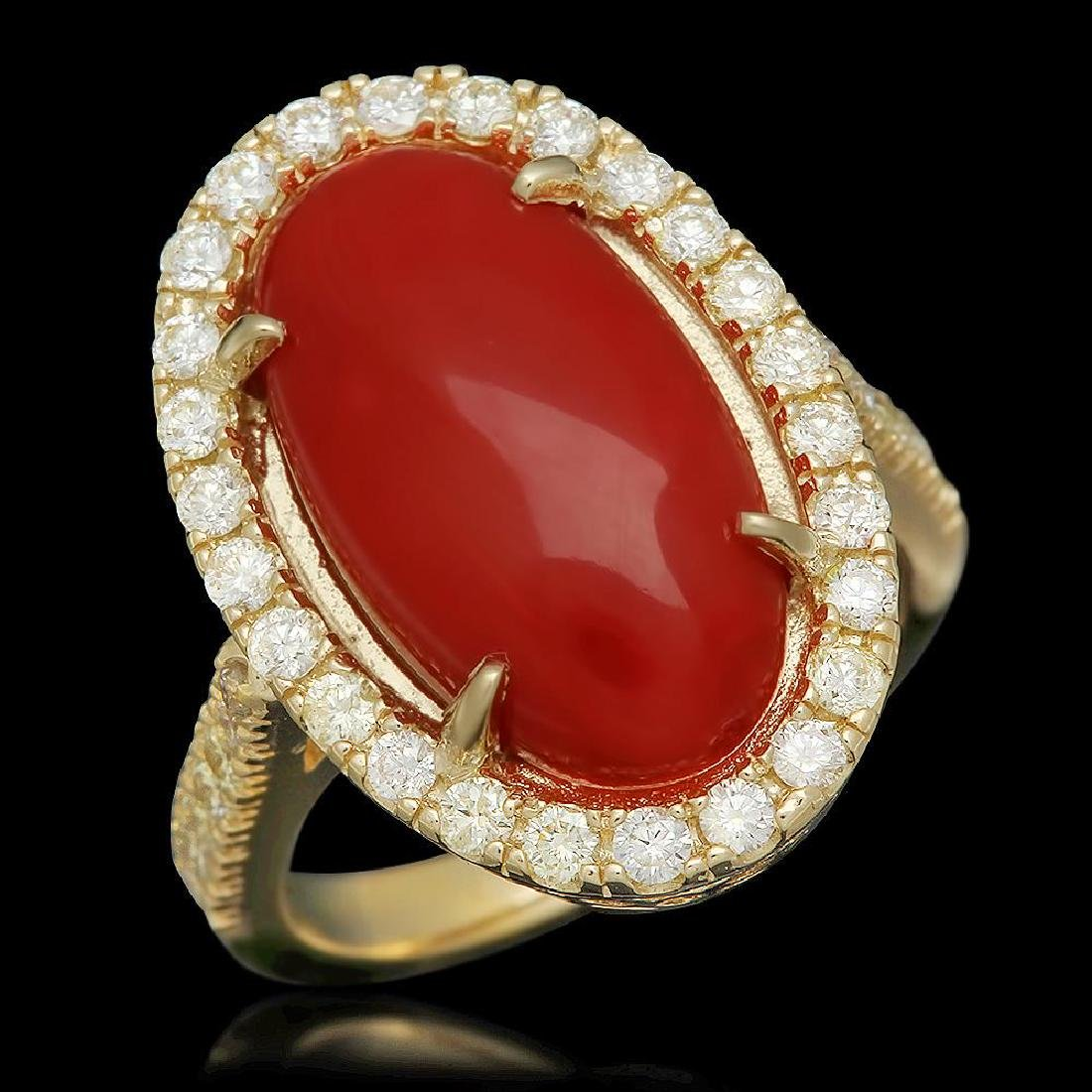 14K Gold 6.08ct Coral 0.94ct Diamond Ring