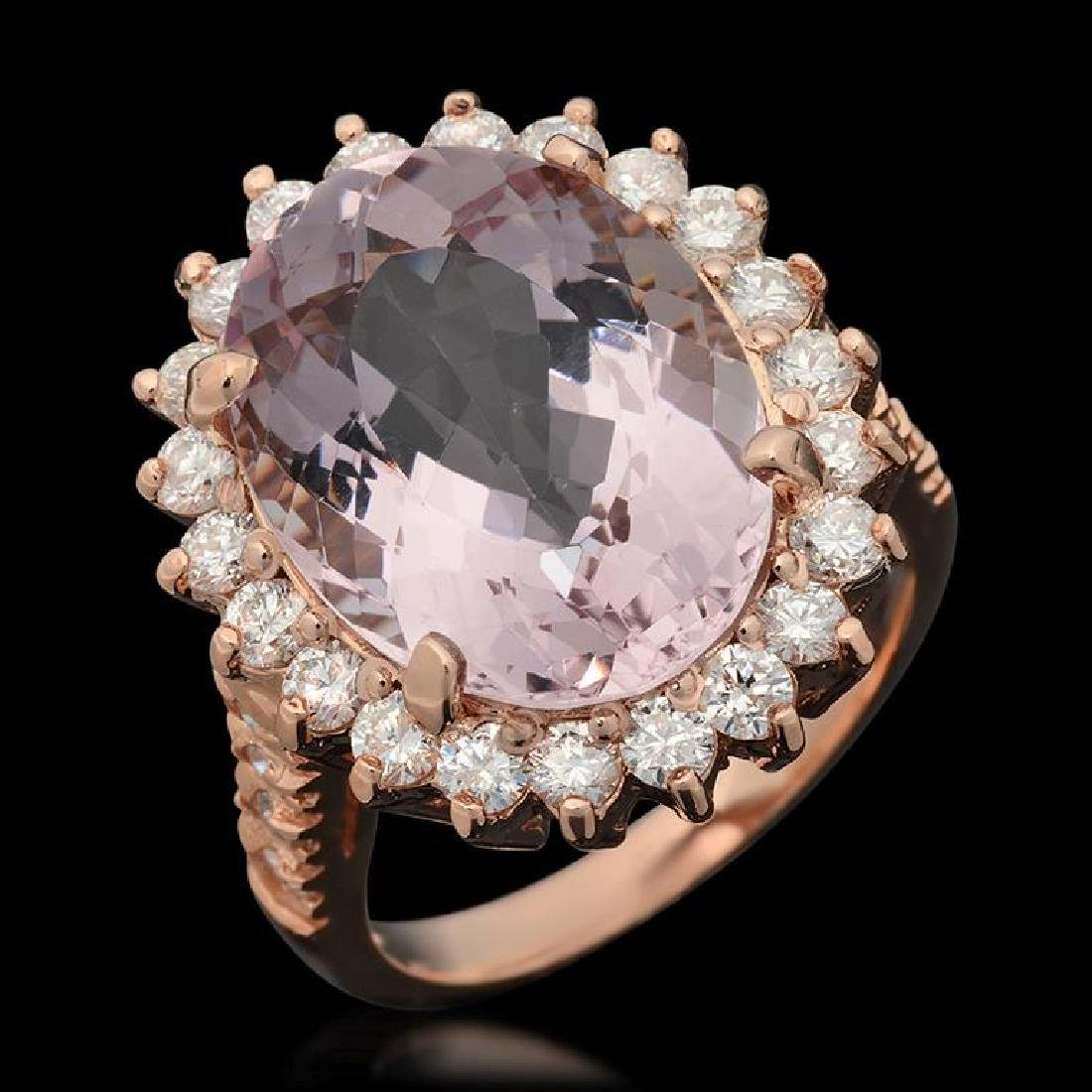 14k Gold 9.73ct Kunzite & 1.47ct Diamond Ring
