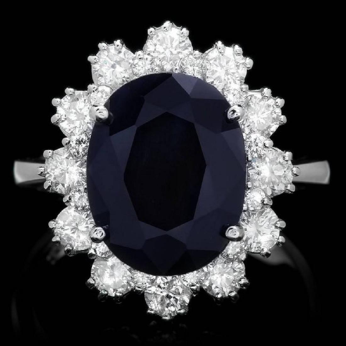 14k Gold 6.00ct Sapphire 1.35ct Diamond Ring