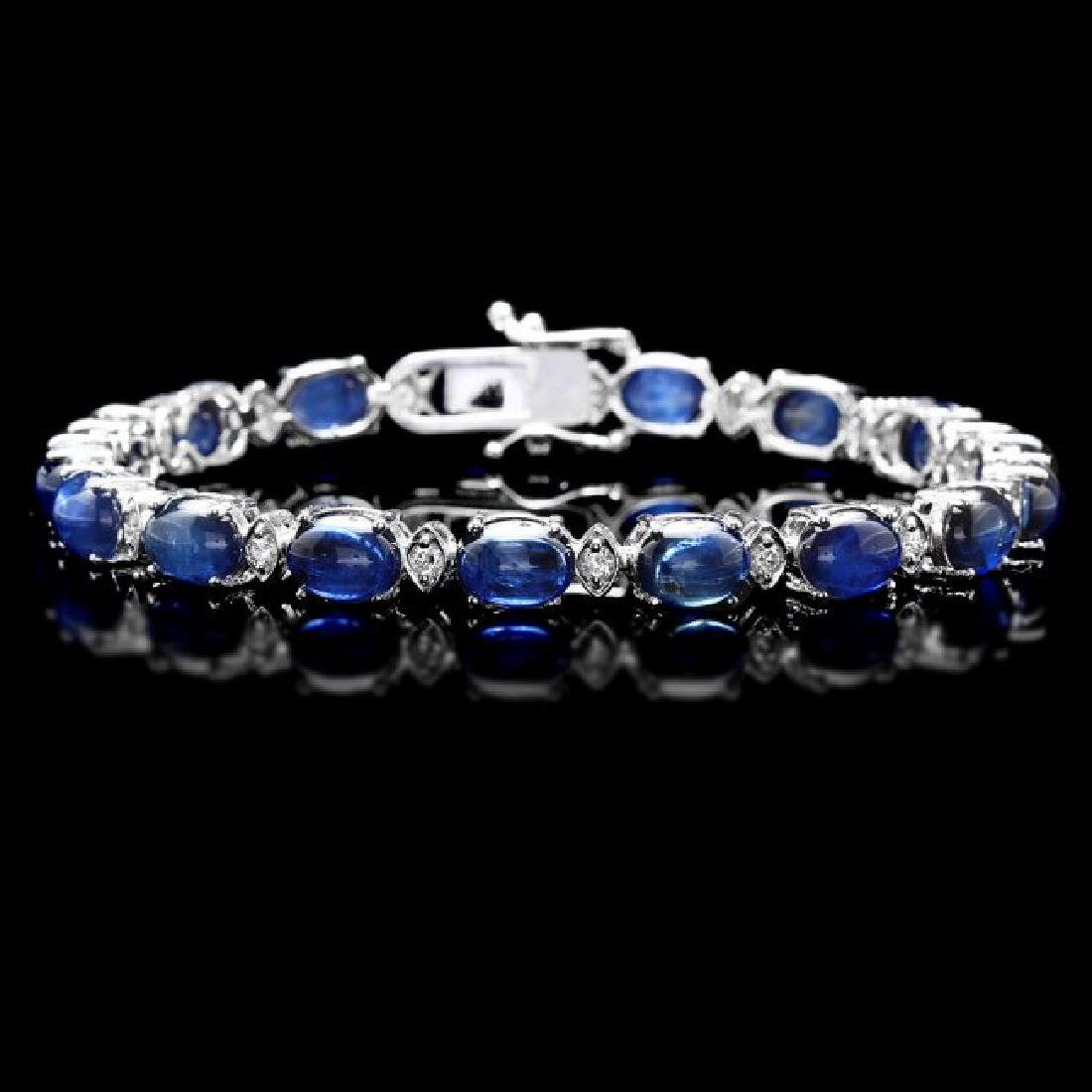 14k Gold 29ct Sapphire 0.75ct Diamond Bracelet