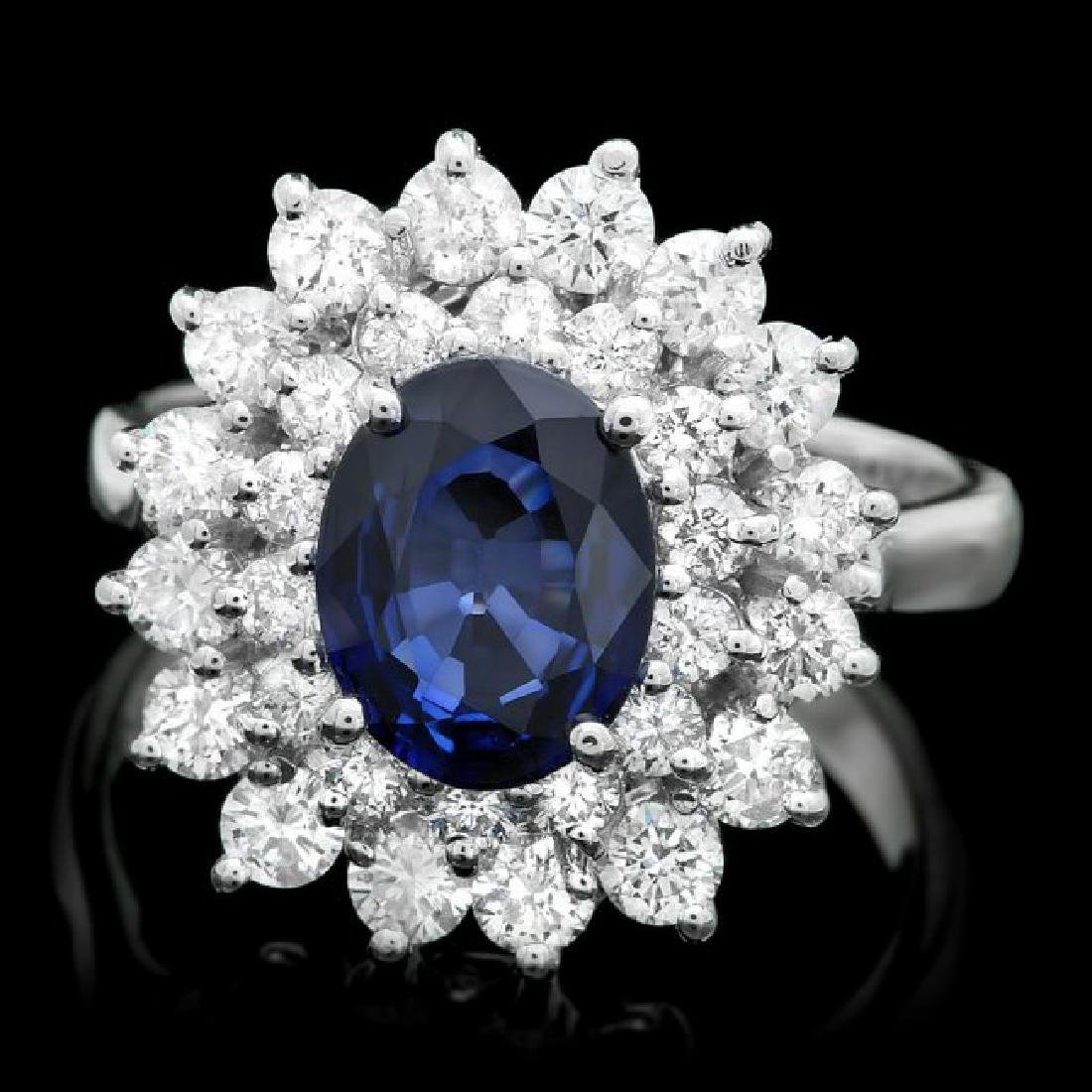 14k Gold 1.80ct Sapphire 1.50ct Diamond Ring