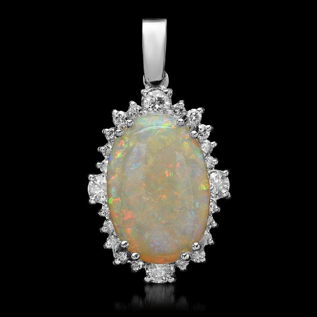 14K Gold 5.87ct Opal 1.11ct Diamond Pendant
