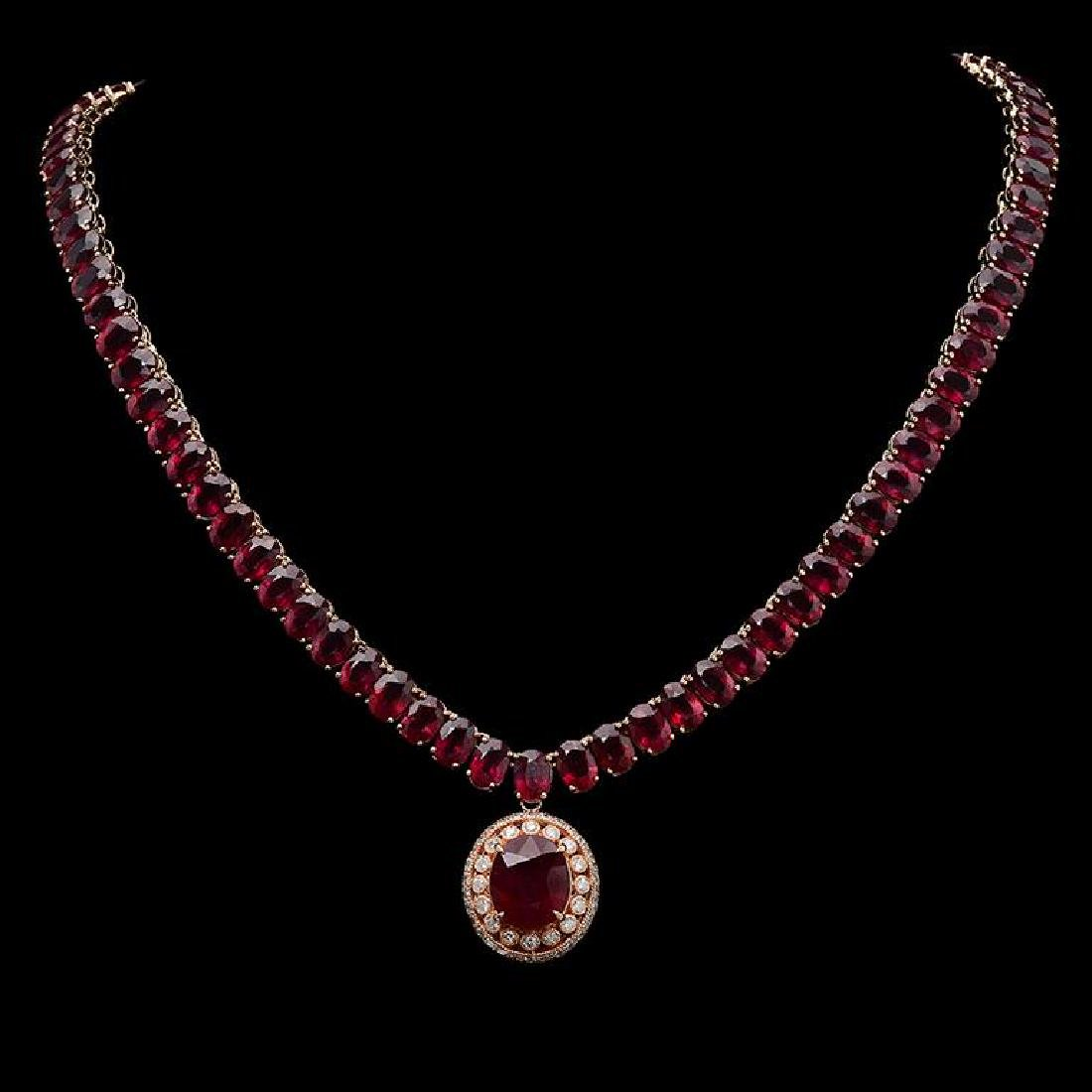 14K Gold 115.72ct Ruby & 1.35ct Diamond Necklace