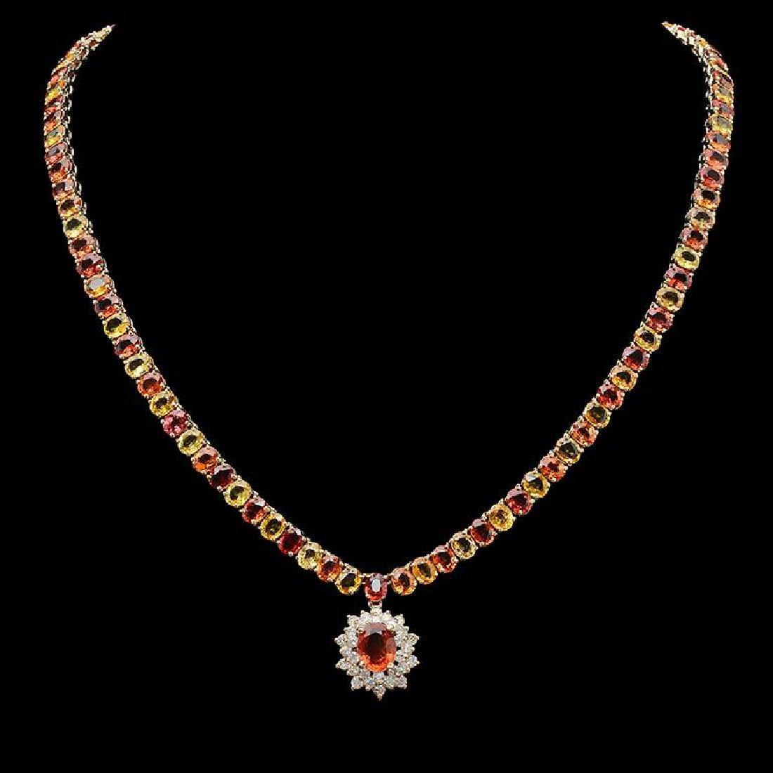 14K Gold 45.49ct Multi-Color Sapphire & 1.30ct Diamond