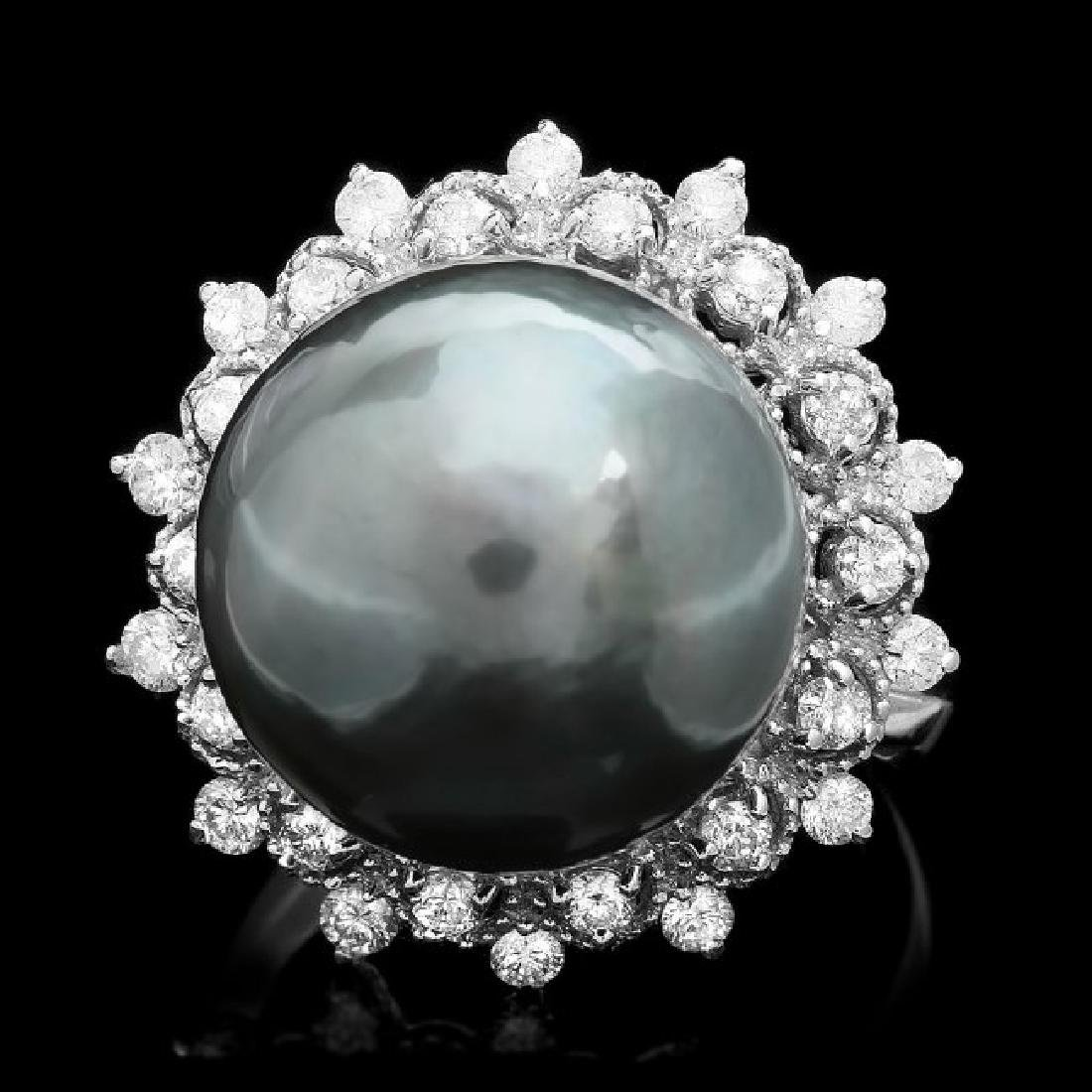 14k White Gold 14mm Pearl 0.70ct Diamond Ring