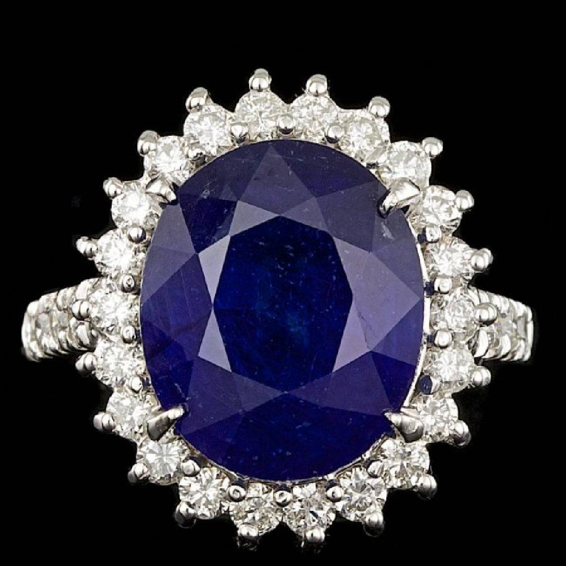 14k Gold 9.00ct Sapphire 1.15ct Diamond Ring