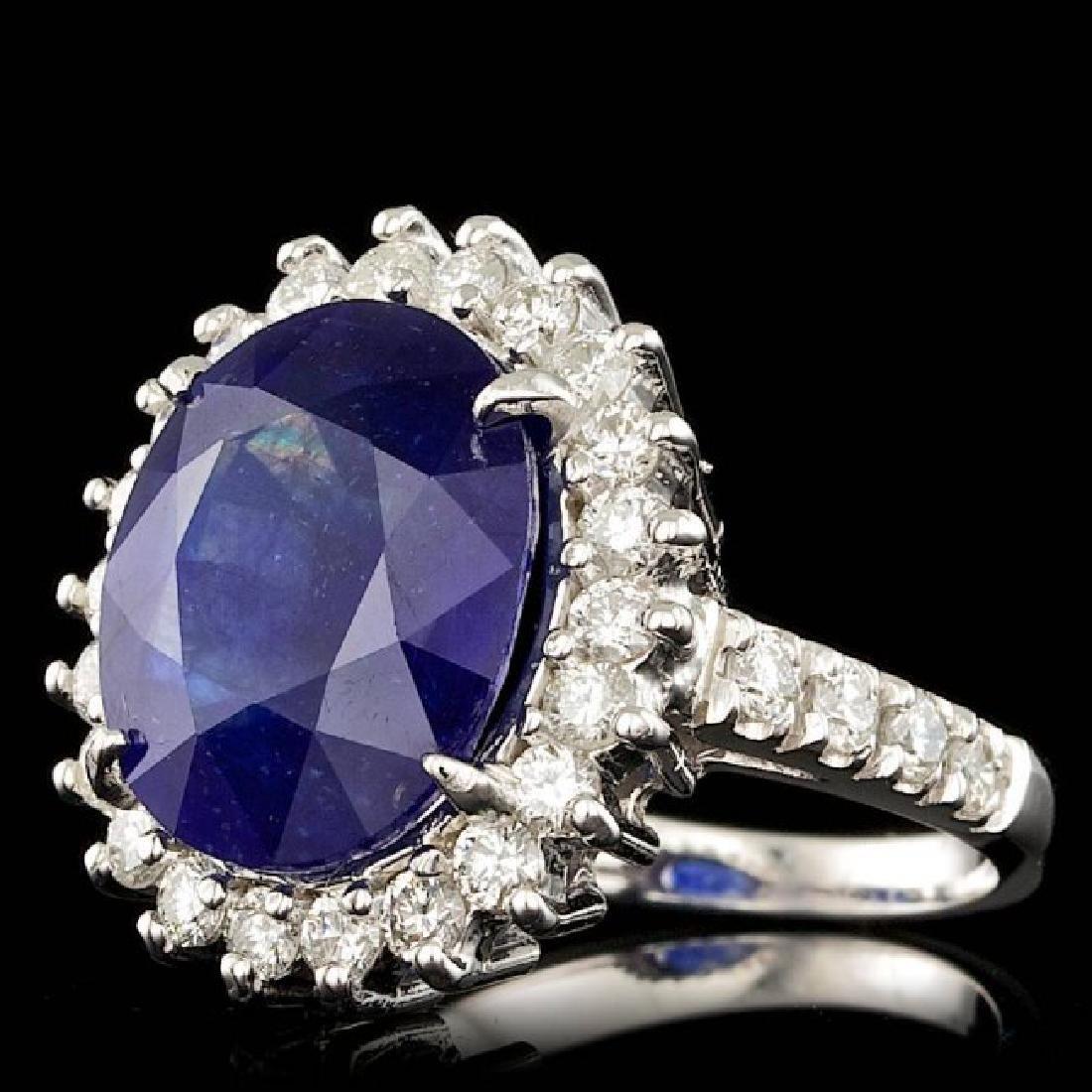 14k Gold 9.00ct Sapphire 1.15ct Diamond Ring - 2