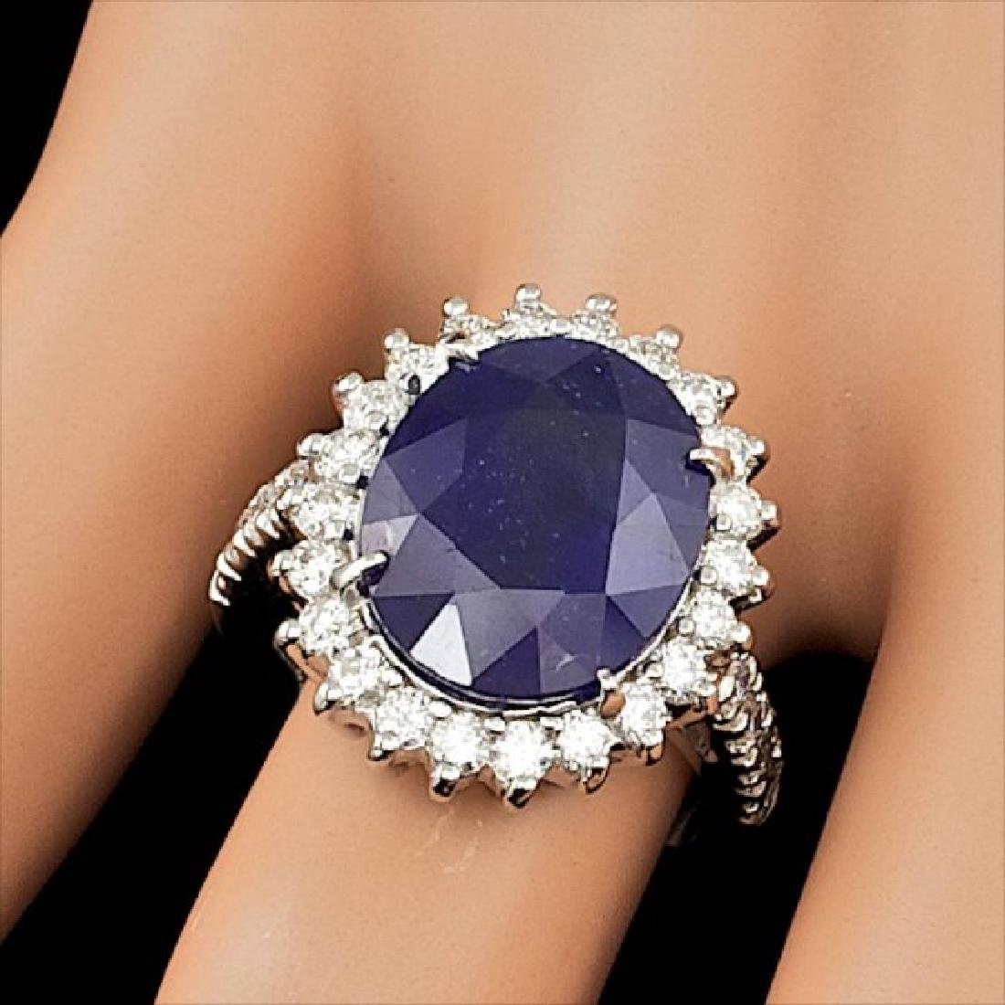 14k Gold 9.00ct Sapphire 1.15ct Diamond Ring - 4