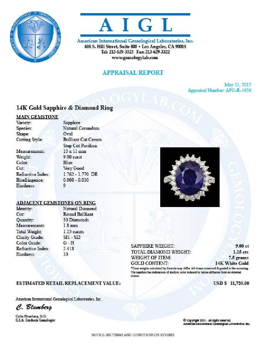 14k Gold 9.00ct Sapphire 1.15ct Diamond Ring - 5