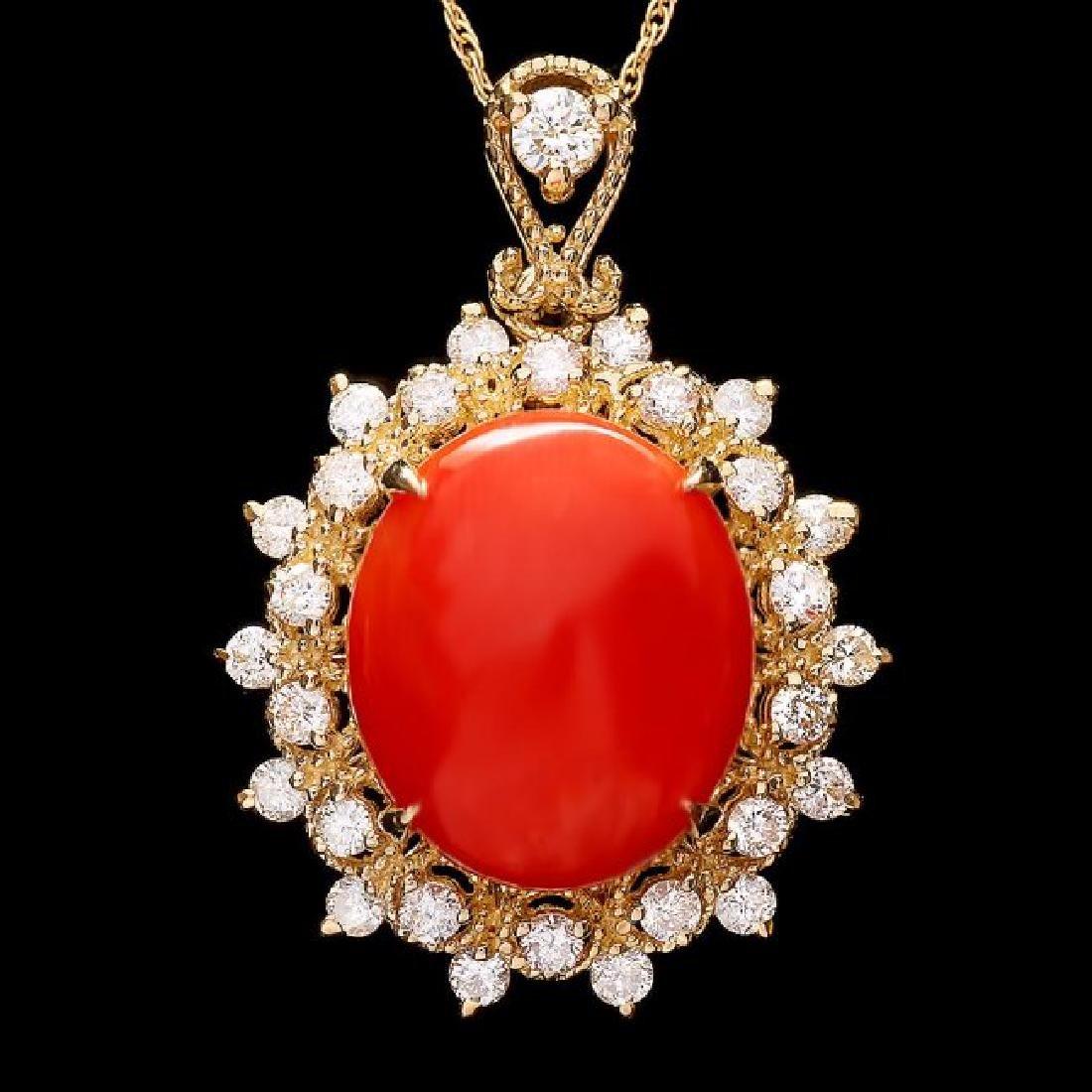 14k Gold 5.70ct Coral 0.80ct Diamond Pendant