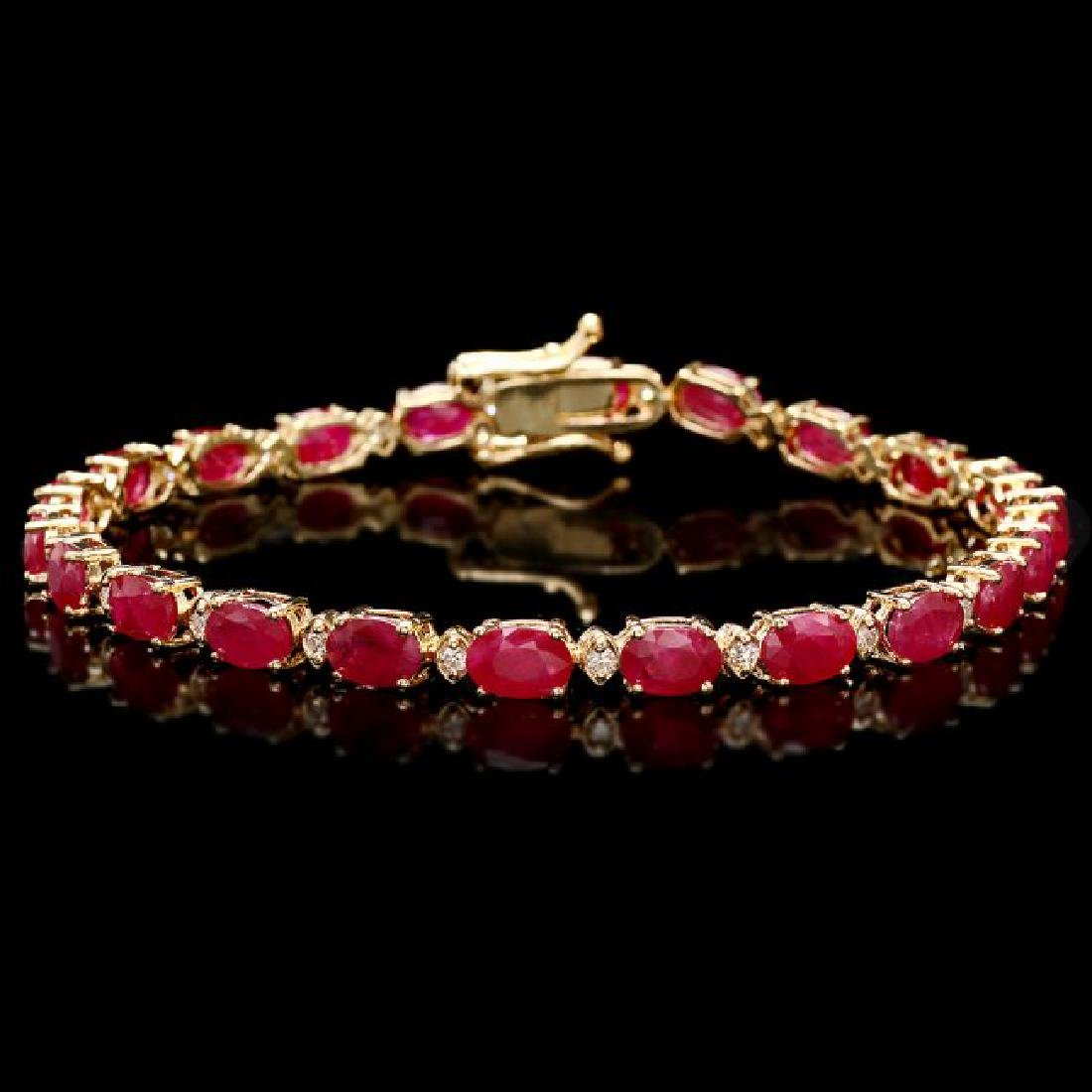 14k Gold 11.50ct Ruby 0.40ct Diamond Bracelet