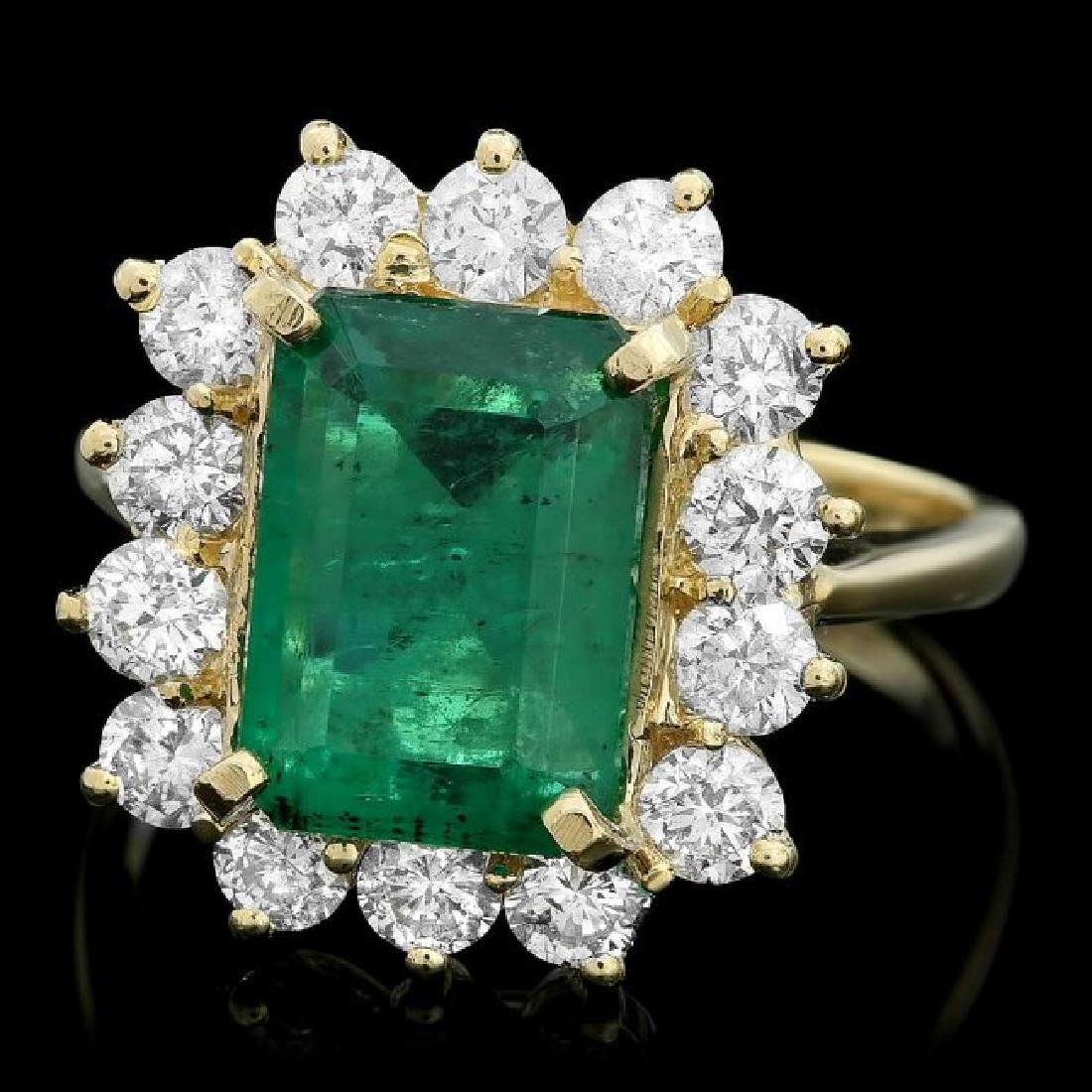 18k Gold 3.50ct Emerald 1.30ct Diamond Ring