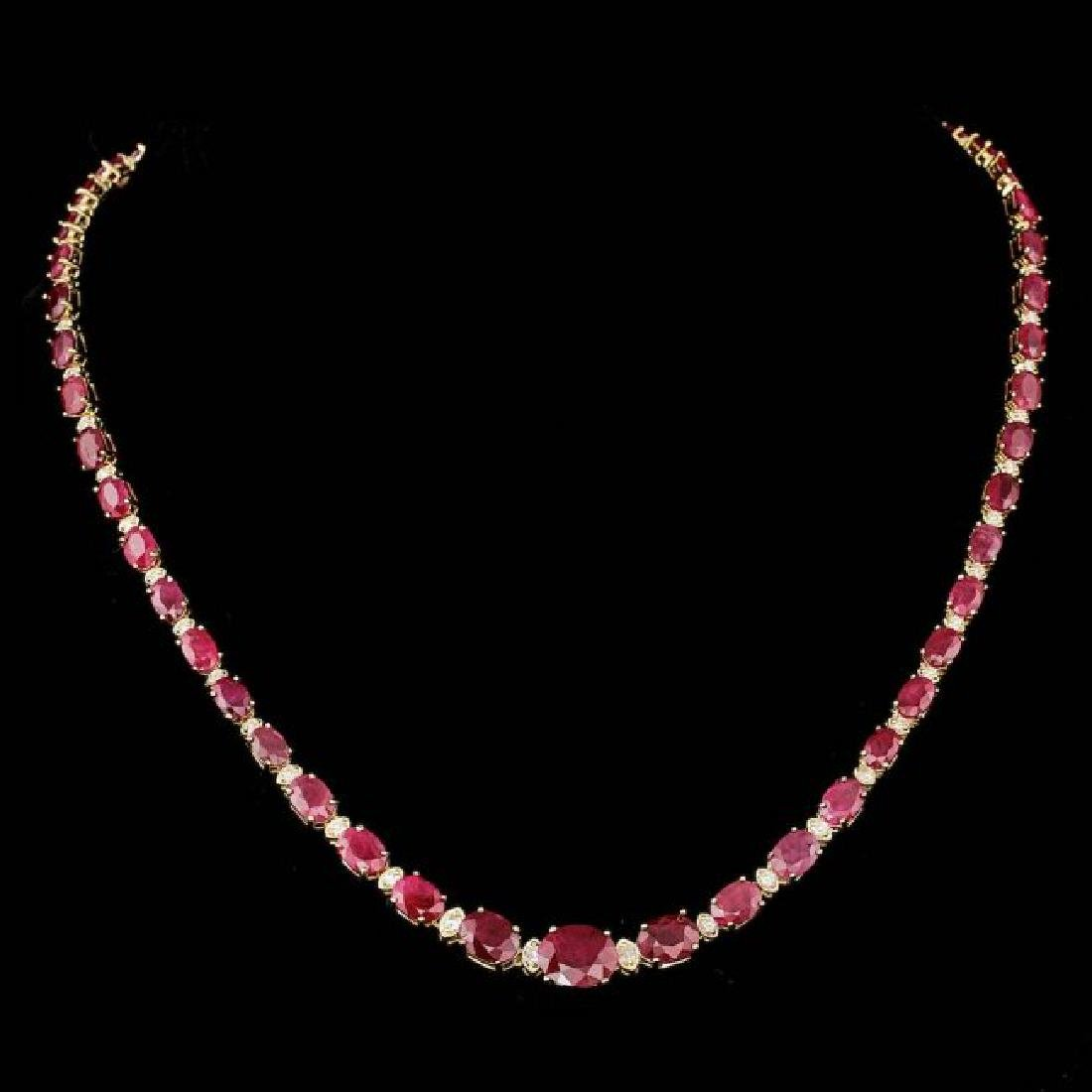 14k Gold 33.00ct Ruby 1.55ct Diamond Necklace