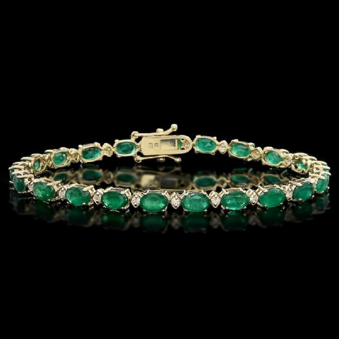 14k Gold 10ct Emerald 0.50ct Diamond Bracelet
