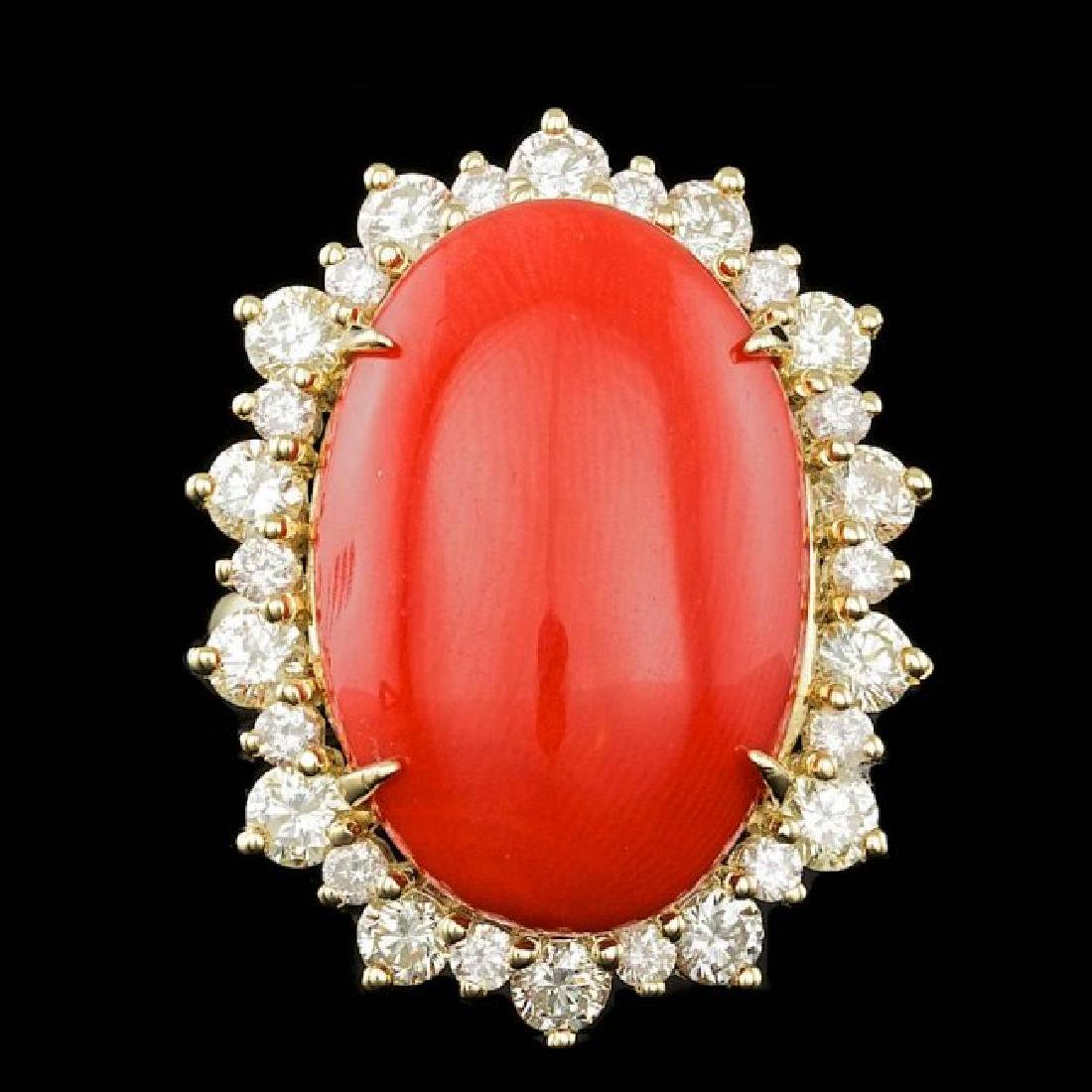 14k Yellow Gold 14.50ct Coral 2.25ct Diamond Ring