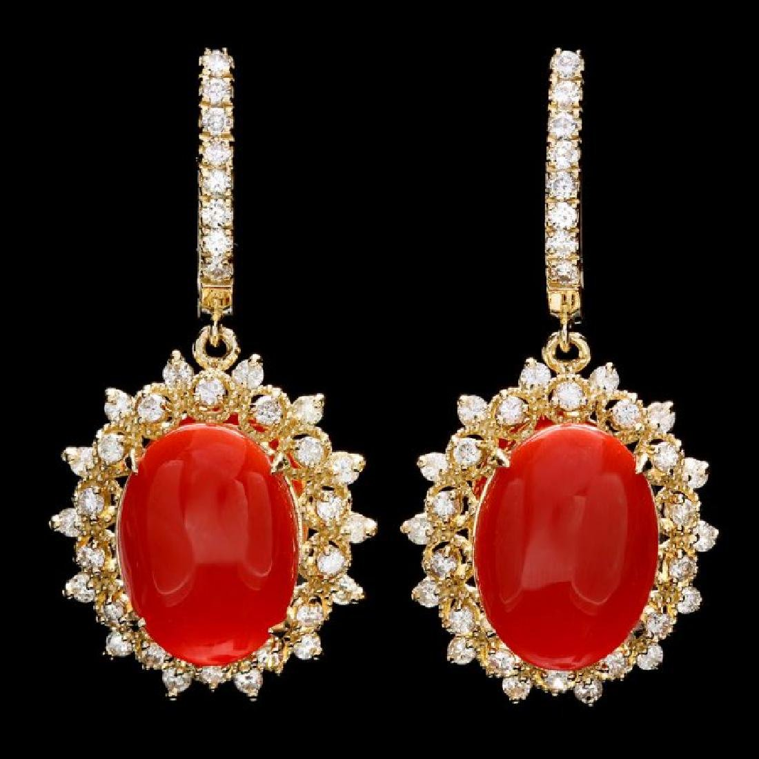 14k Gold 9.50ct Coral 1.65ct Diamond Earrings