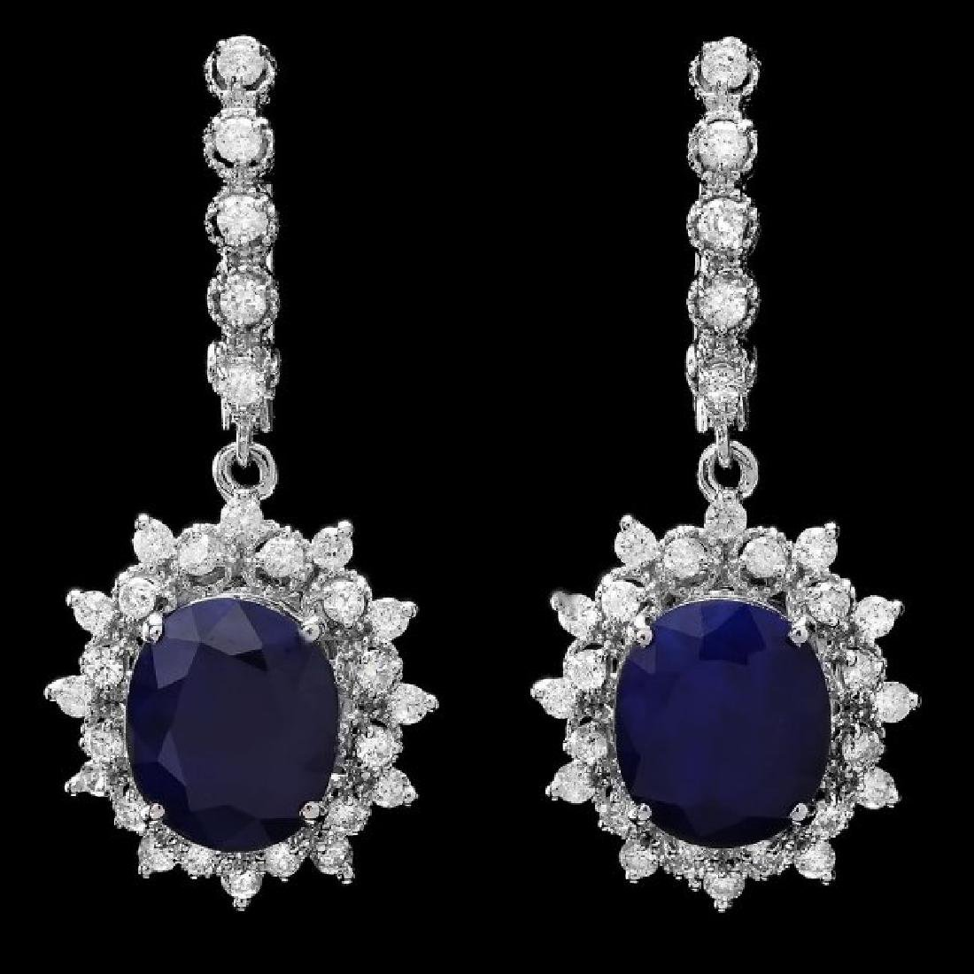 14k Gold 10ct Sapphire 1.65ct Diamond Earrings