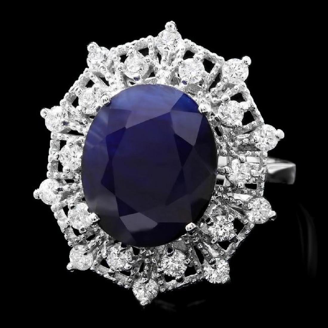 14k Gold 9.00ct Sapphire 0.85ct Diamond Ring