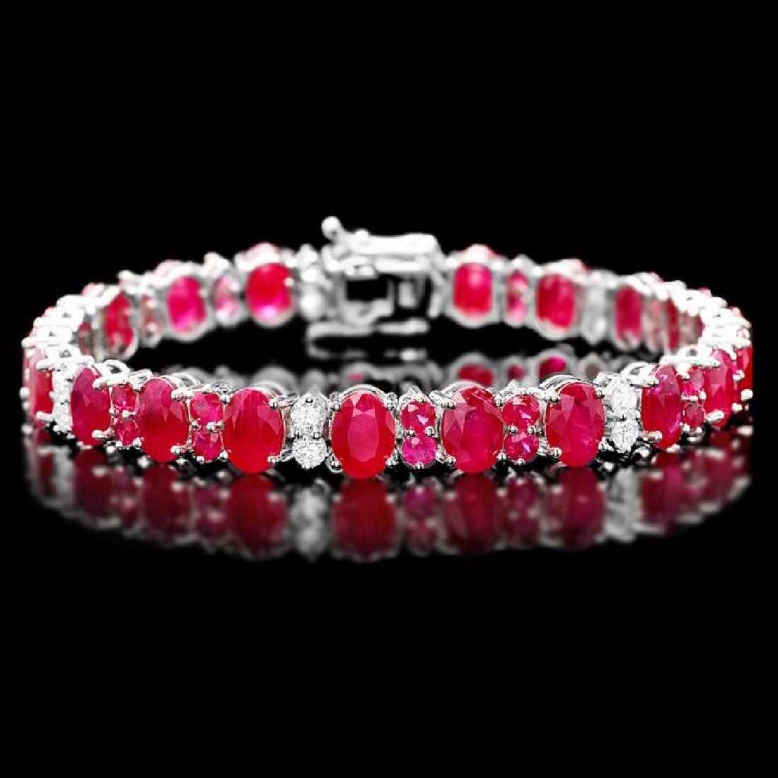 14k Gold 24.8ct Ruby 1.25ct Diamond Bracelet
