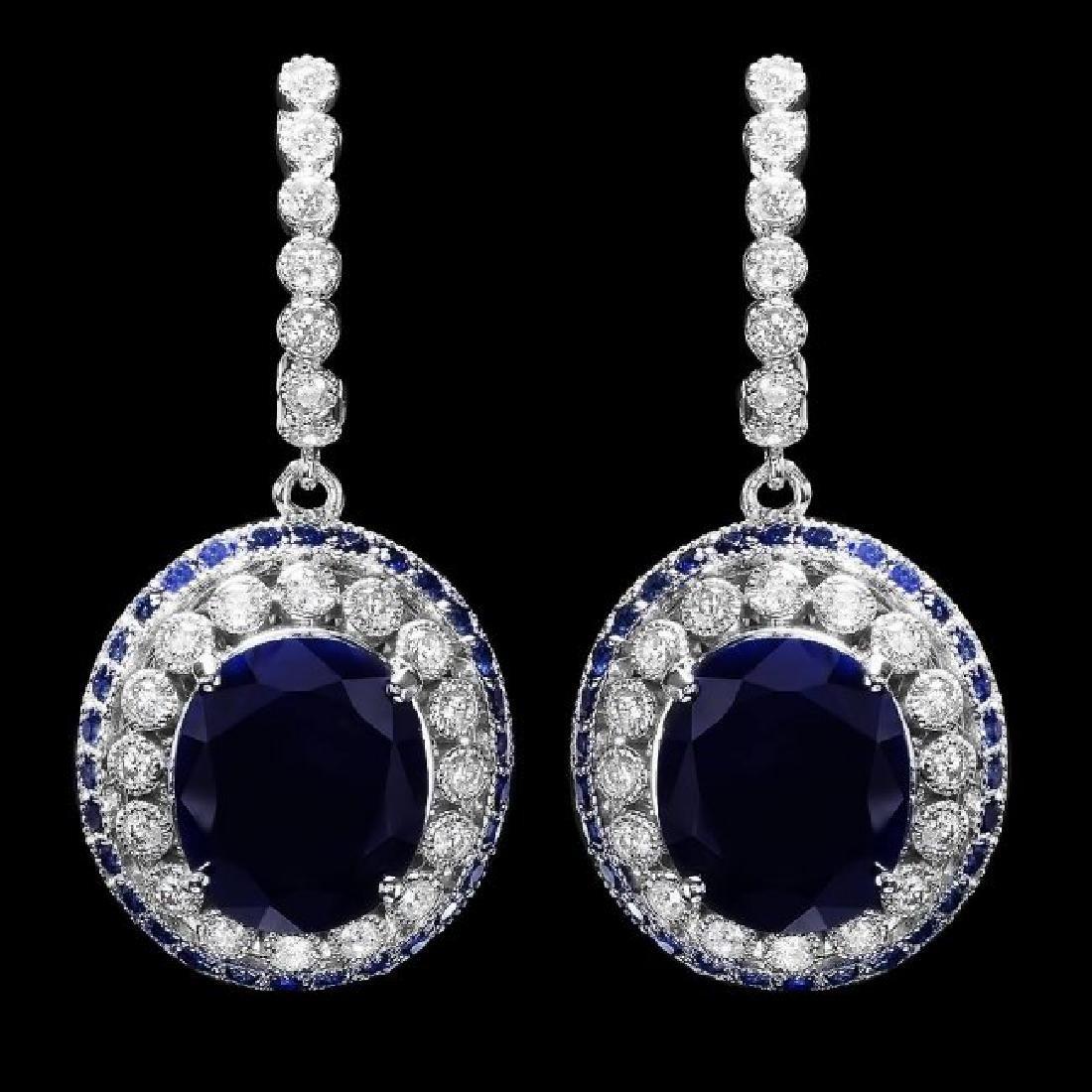14k Gold 14.7ct Sapphire 1ct Diamond Earrings