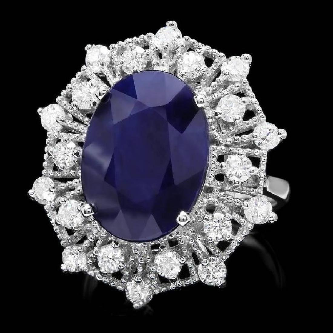 14k Gold 9.00ct Sapphire 1.35ct Diamond Ring