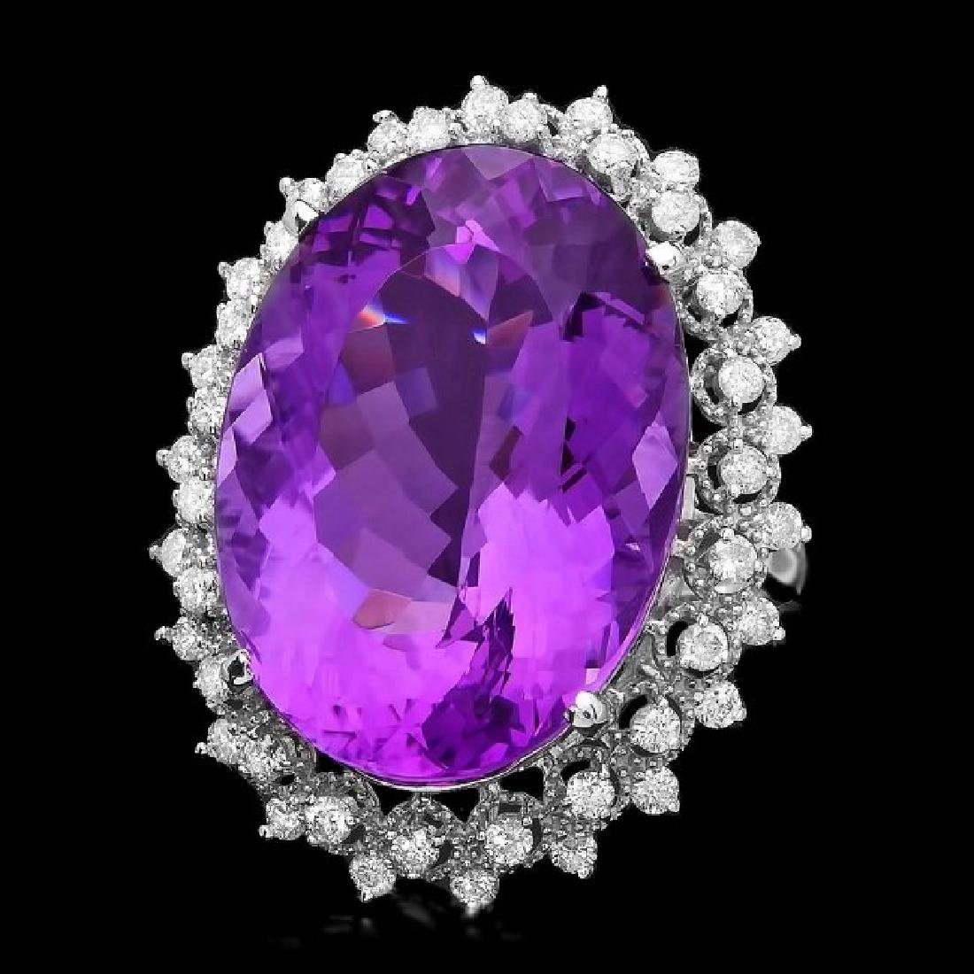 14k White Gold 27ct Amethyst 1.00ct Diamond Ring