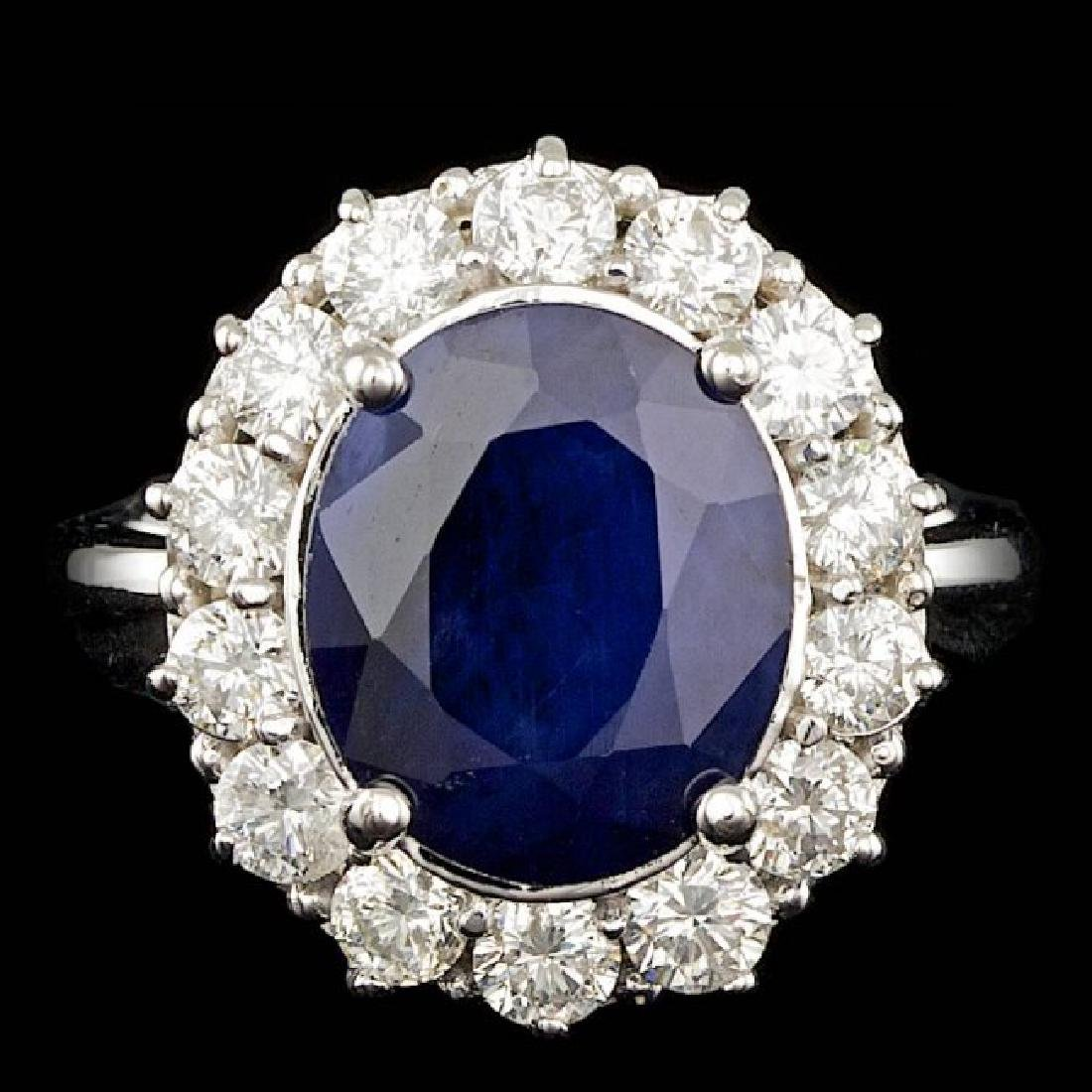 14k Gold 5.50ct Sapphire 1.50ct Diamond Ring