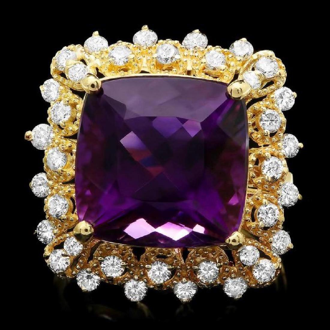 14k Gold 9.32ct Amethyst 0.90ct Diamond Ring