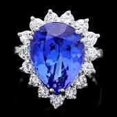 18k Gold 900ct Tanzanite 135ct Diamond Ring