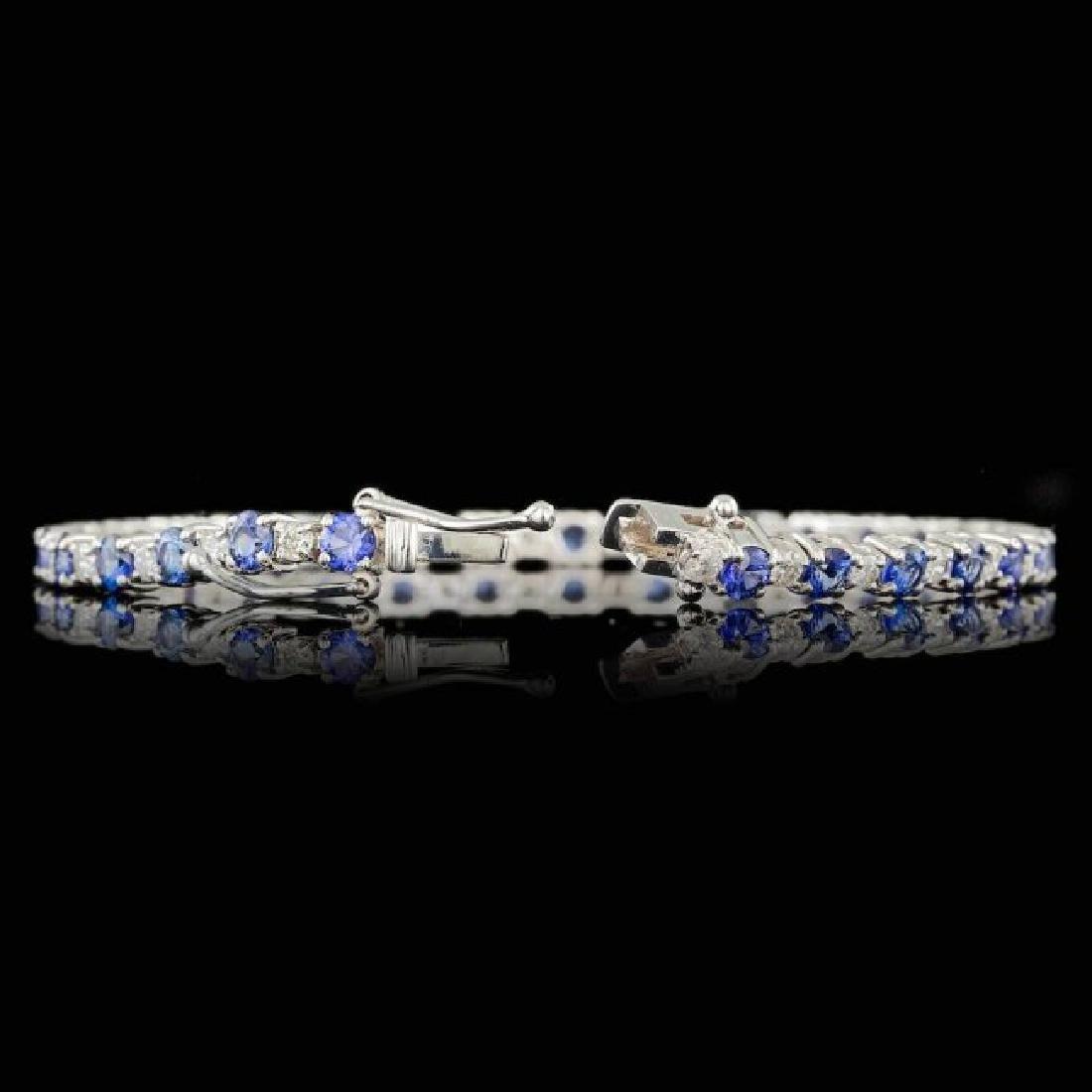 14k Gold 6.00ct Sapphire 1.65ct Diamond Bracelet - 2