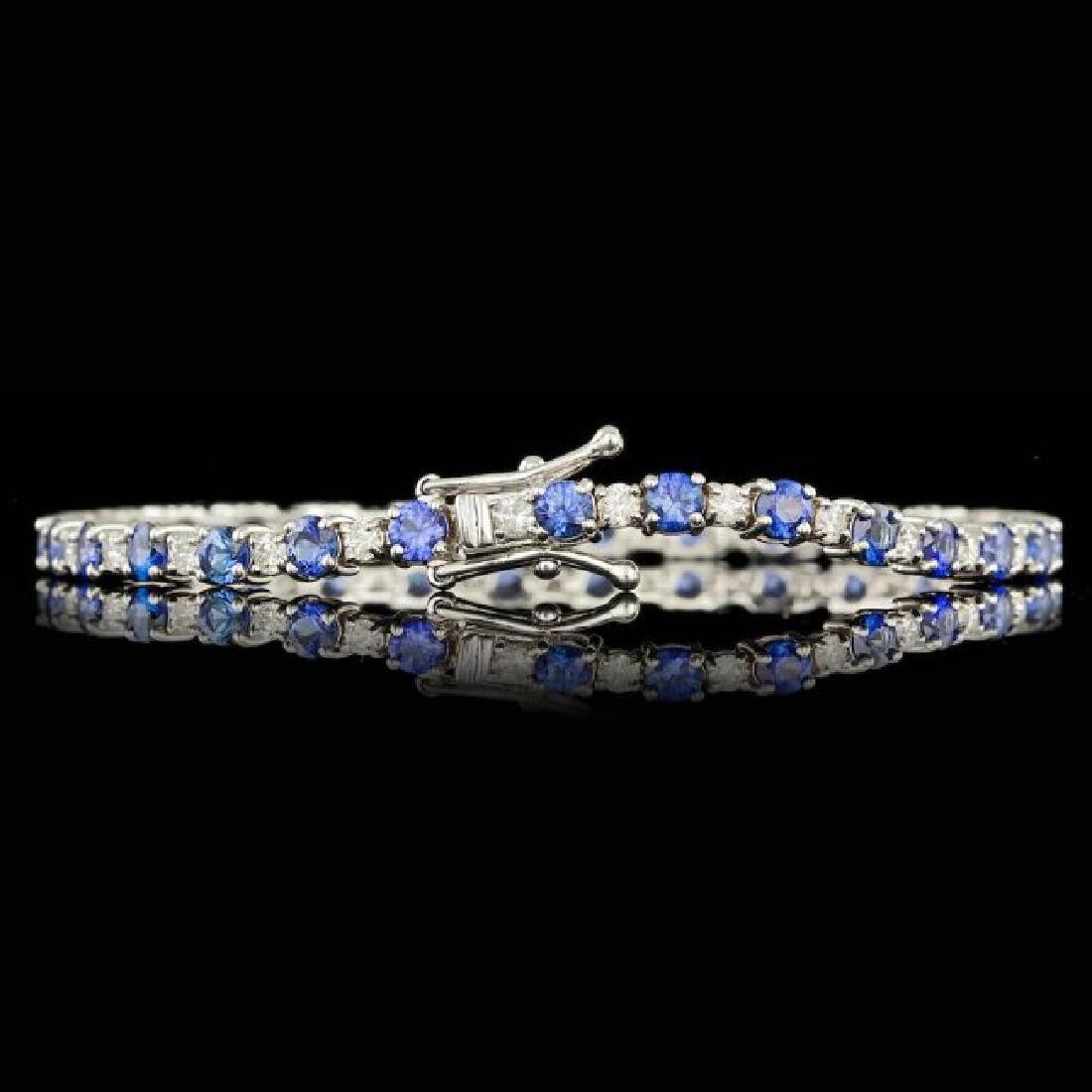 14k Gold 6.00ct Sapphire 1.65ct Diamond Bracelet - 3