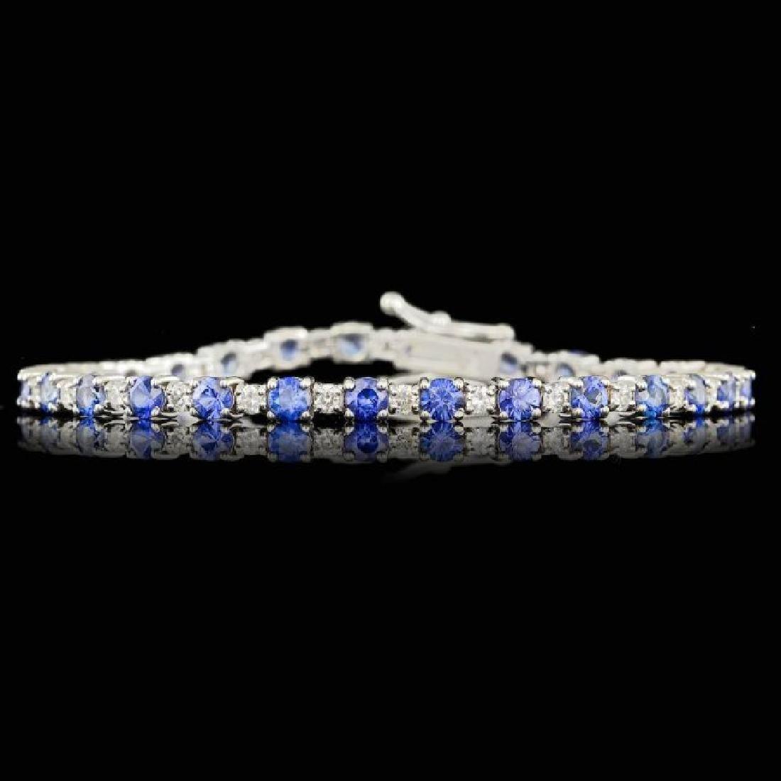 14k Gold 6.00ct Sapphire 1.65ct Diamond Bracelet - 4