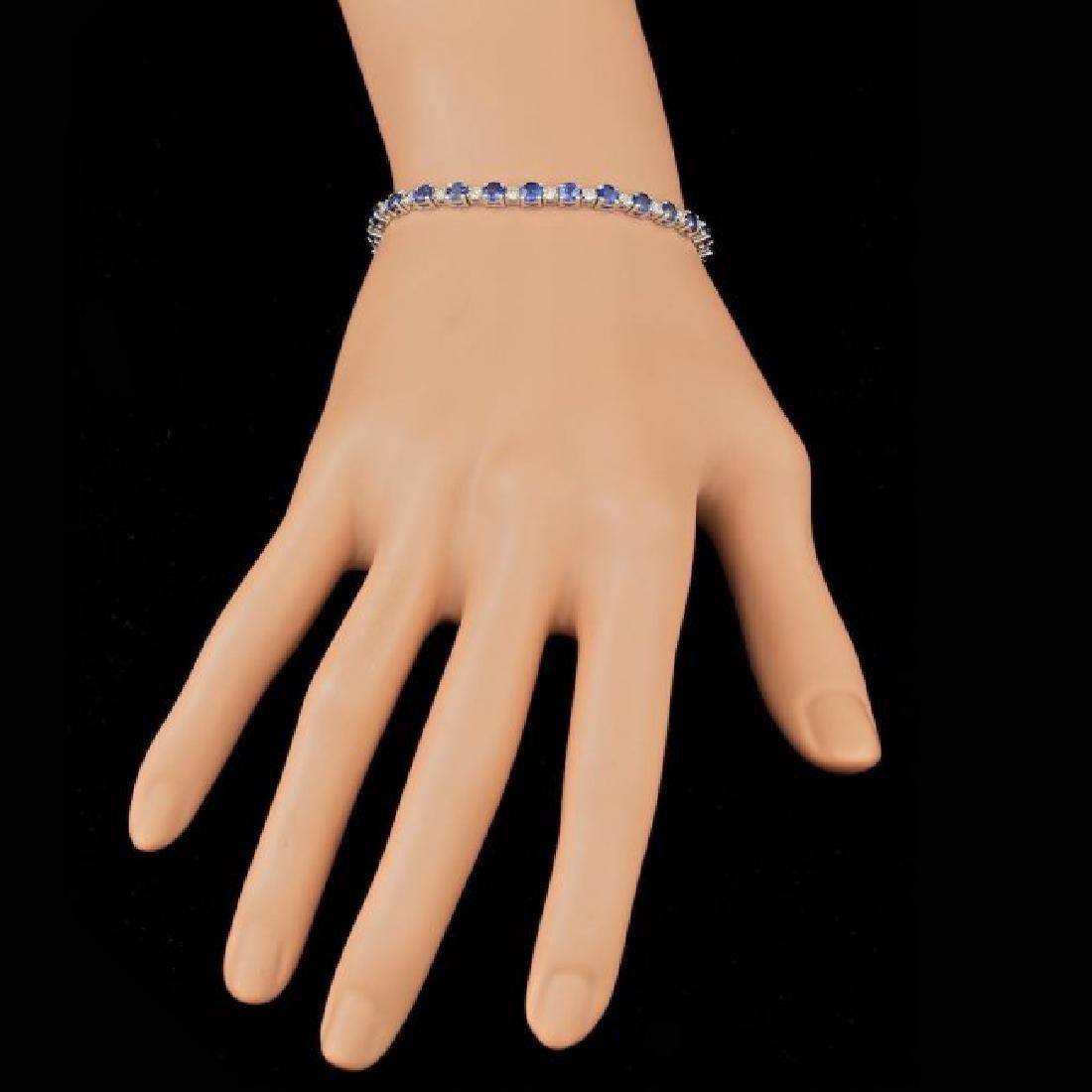 14k Gold 6.00ct Sapphire 1.65ct Diamond Bracelet - 5
