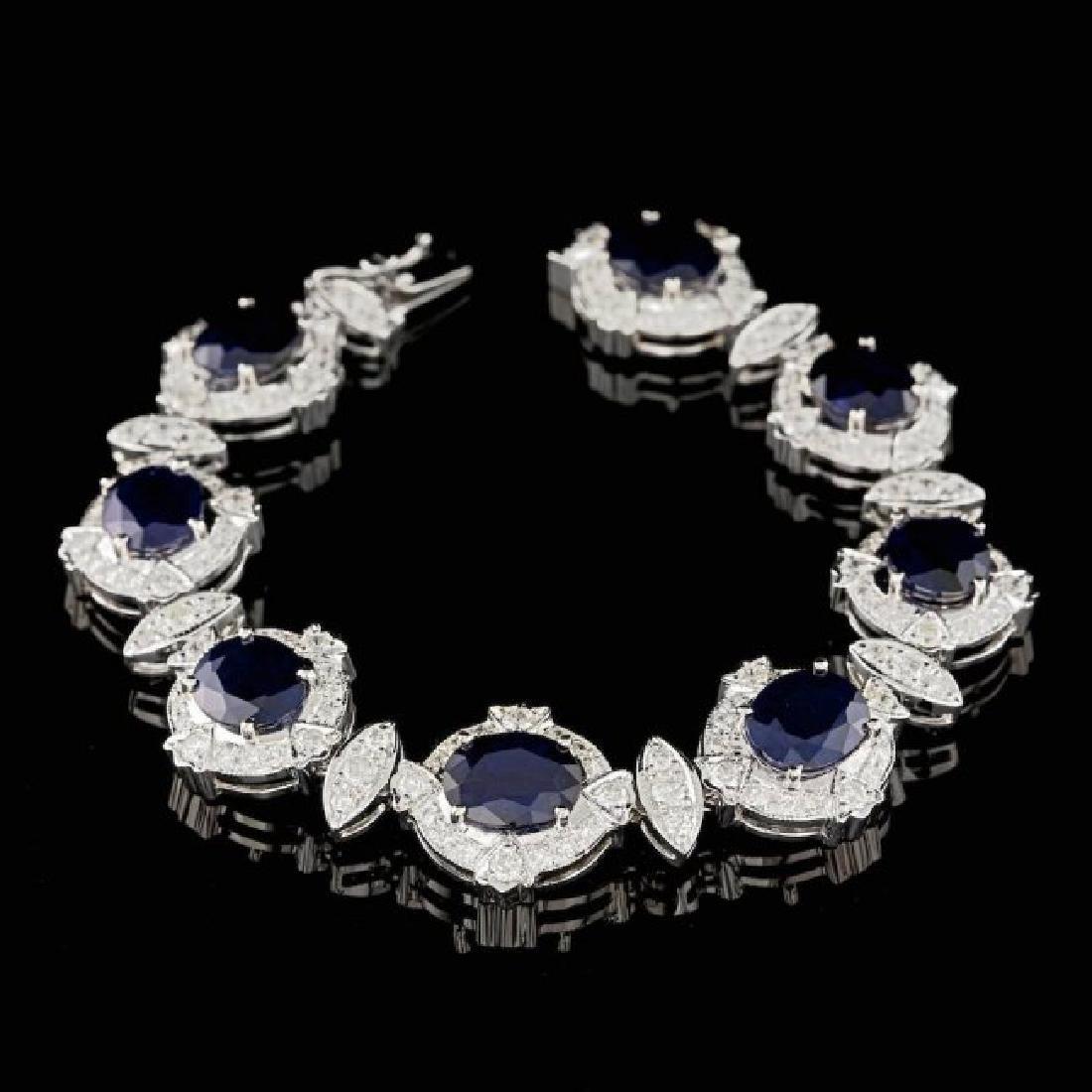 14k Gold 24.50ct Sapphire 5.50ct Diamond Bracelet - 3