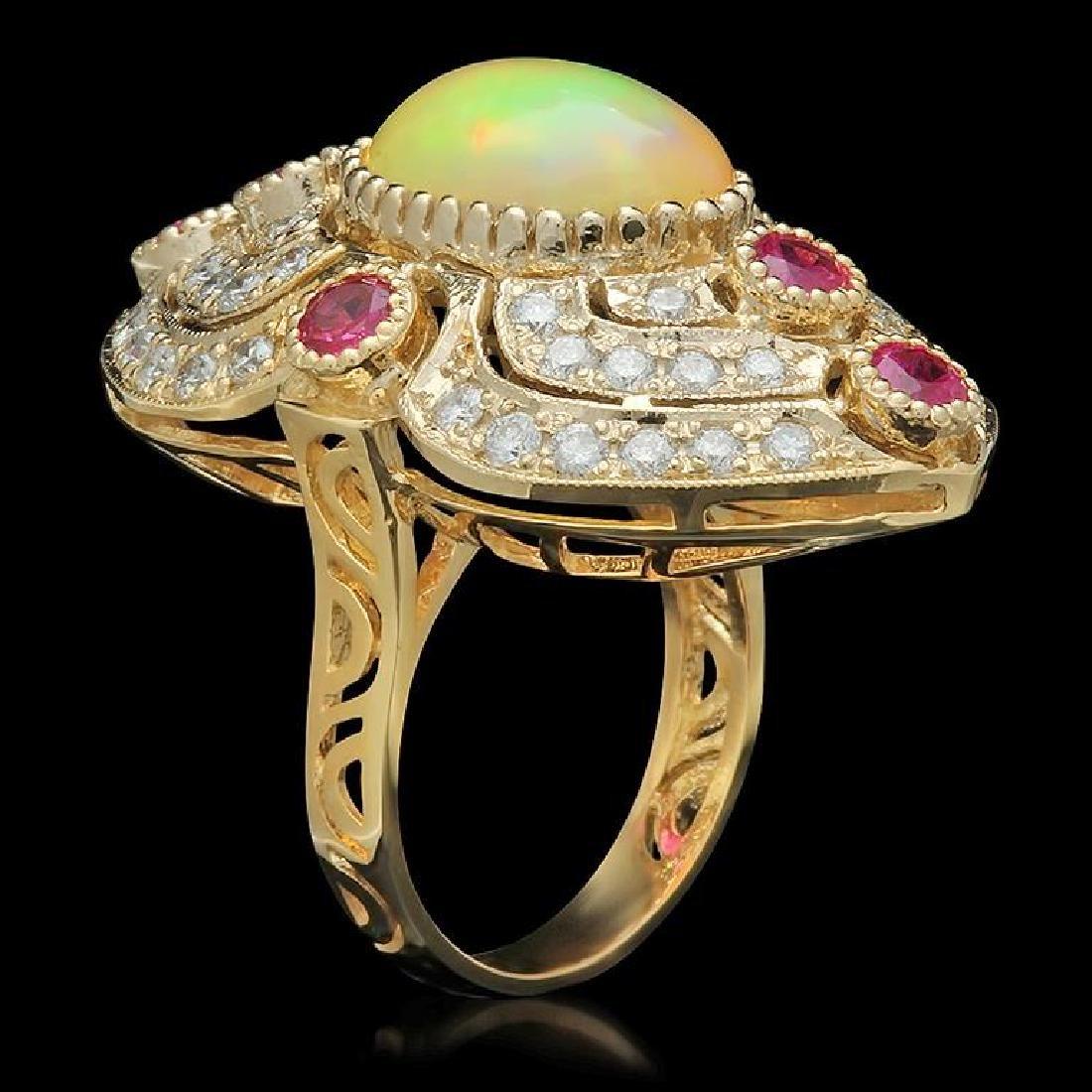 14K Gold 3.60ct Opal, 1.20ct Ruby & 1.51ct Diamond Ring - 2