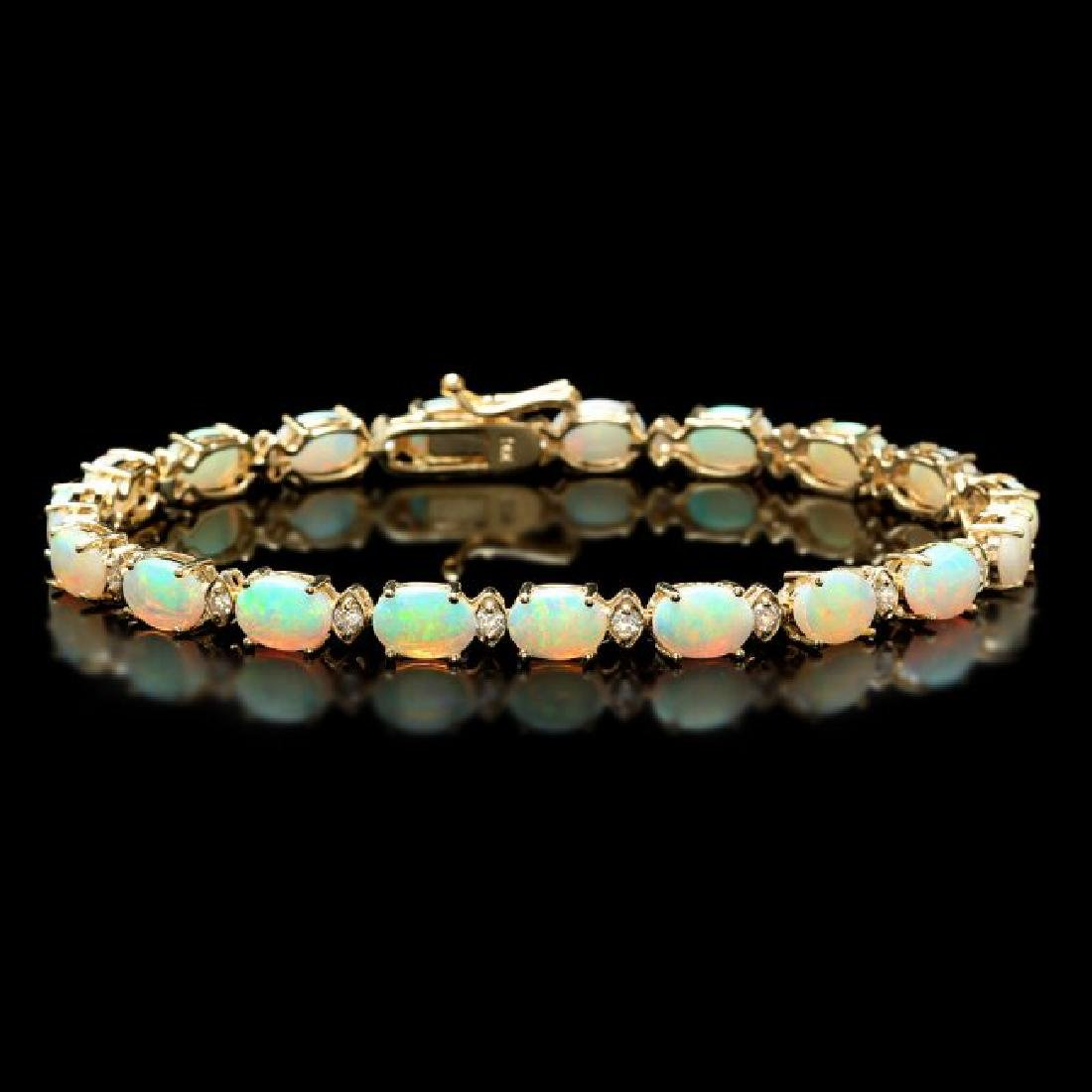 14k Gold 8.20ct Opal 0.70ct Diamond Bracelet