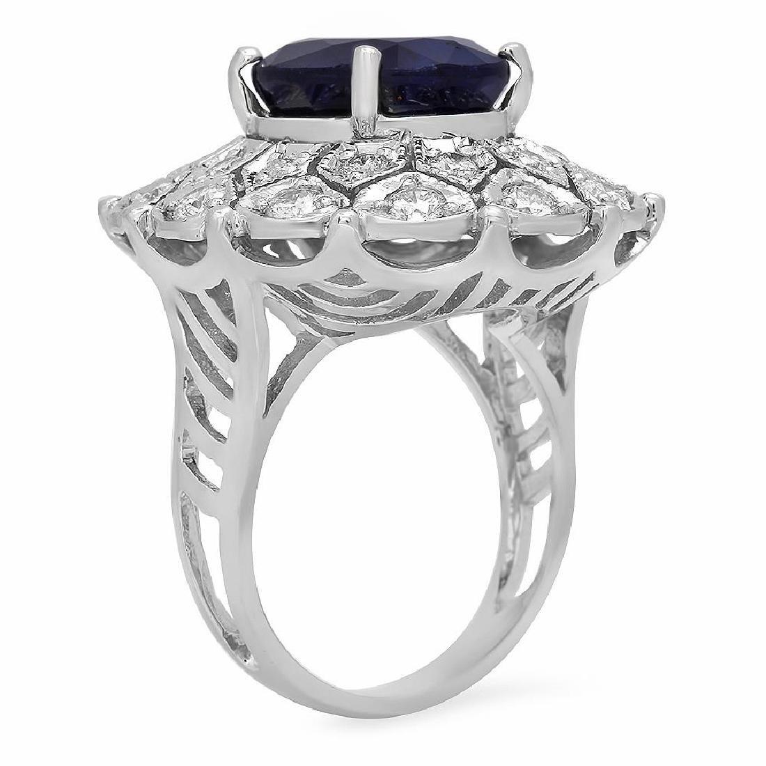 14K Gold 9.23ct Sapphire 1.72ct Diamond Ring - 2
